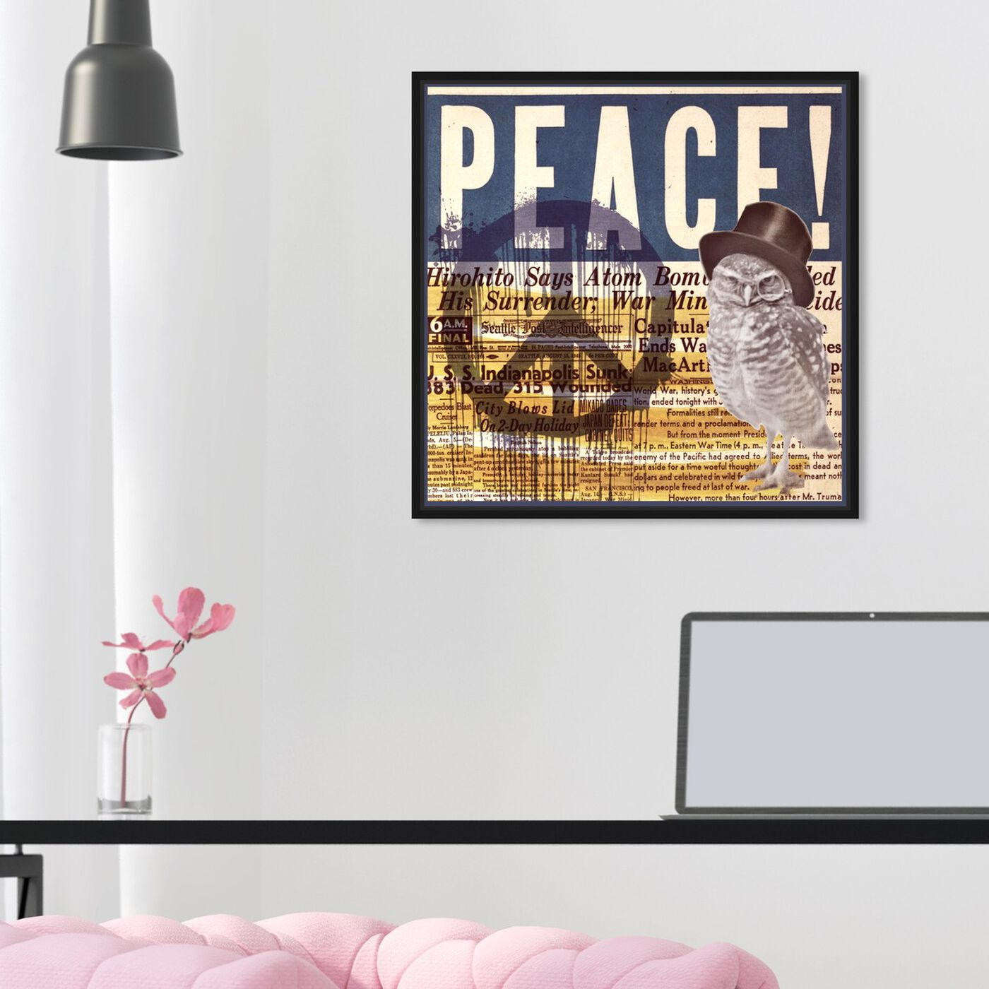 Hanging view of Peace! featuring advertising and posters art.