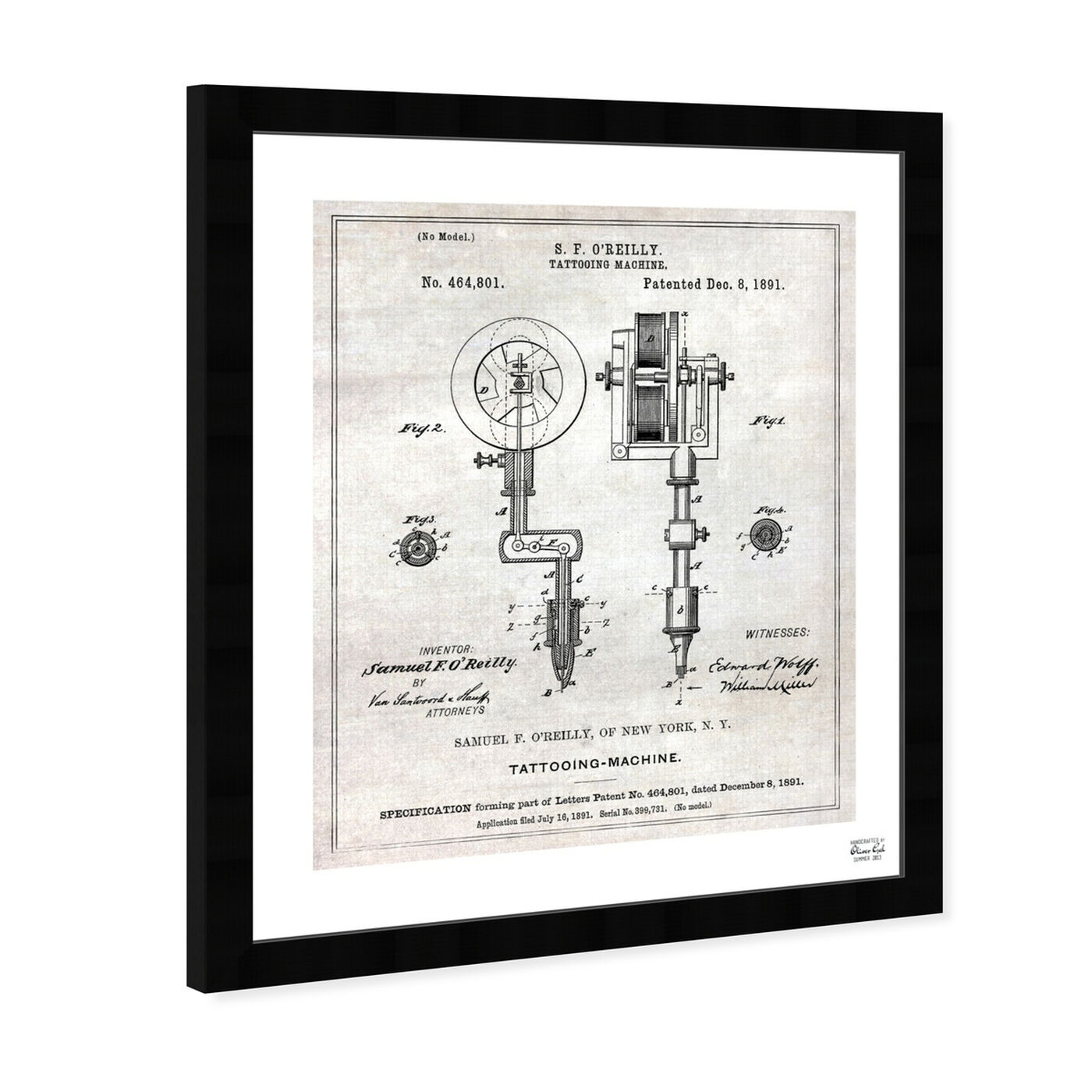 Angled view of Tattoo Machine 1891 featuring entertainment and hobbies and professions art.