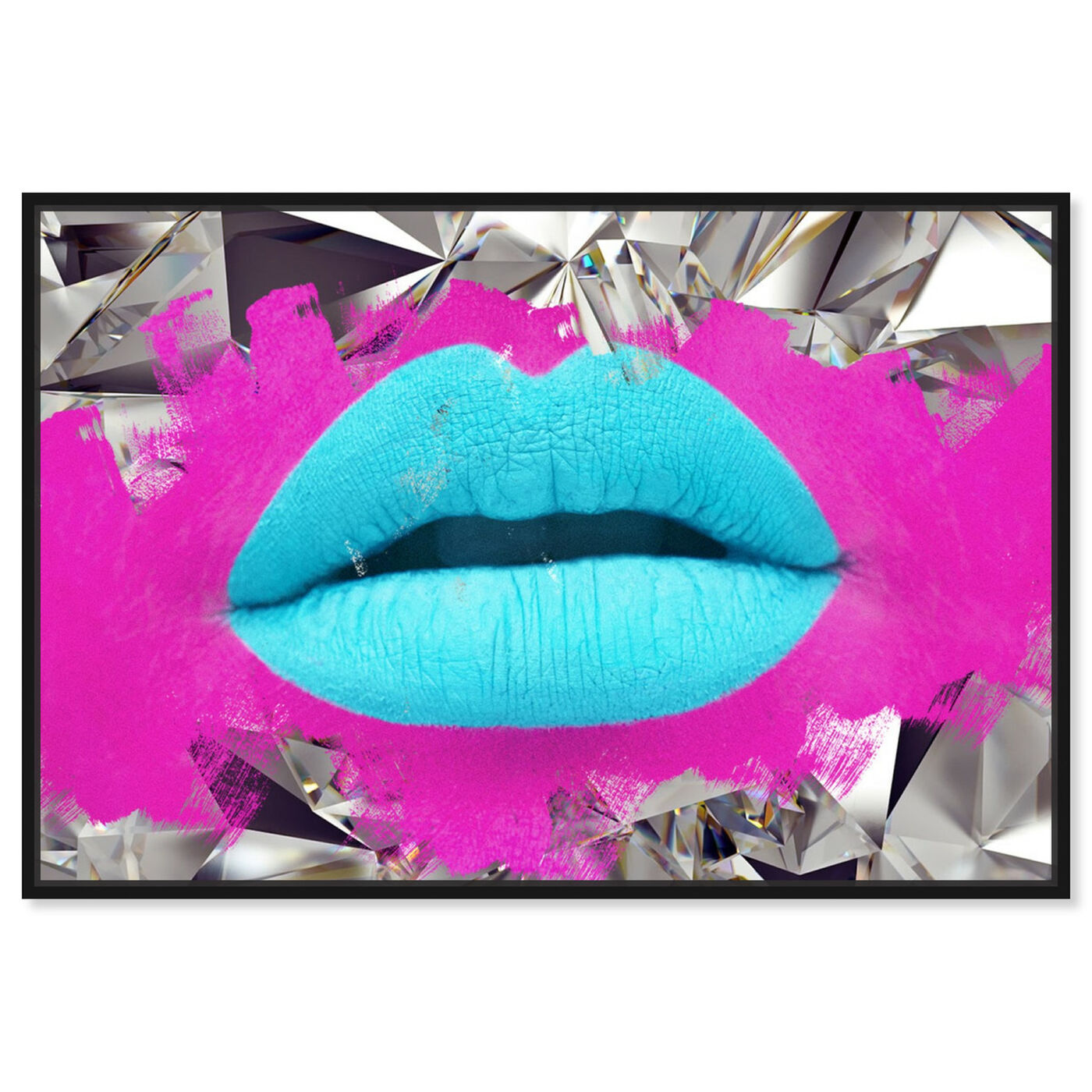 Front view of Androkiss featuring fashion and glam and lips art.