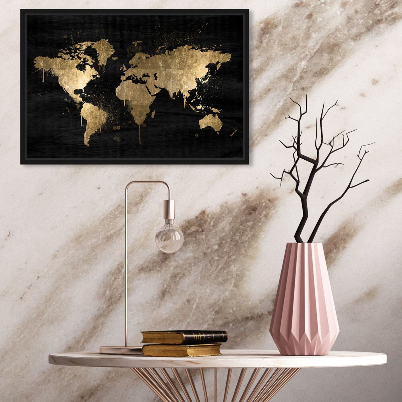 Hanging view of Mapamundi Gold featuring maps and flags and world maps art.