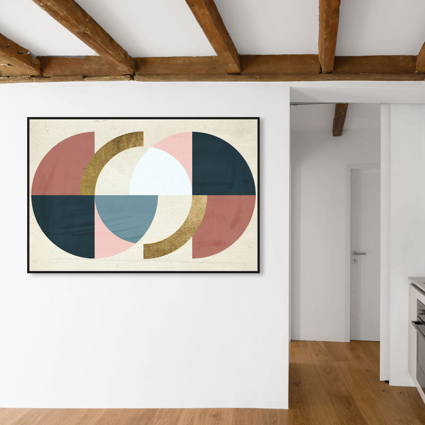 Hanging view of Rotating Puzzle Spheres Gold featuring abstract and geometric art.