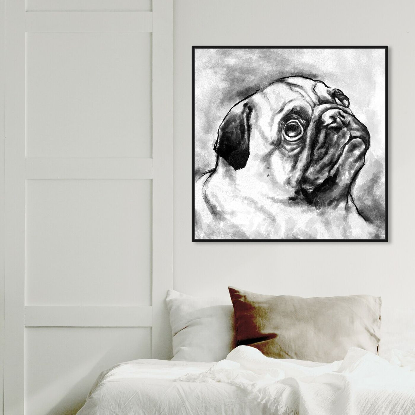 Hanging view of Pug I featuring animals and dogs and puppies art.