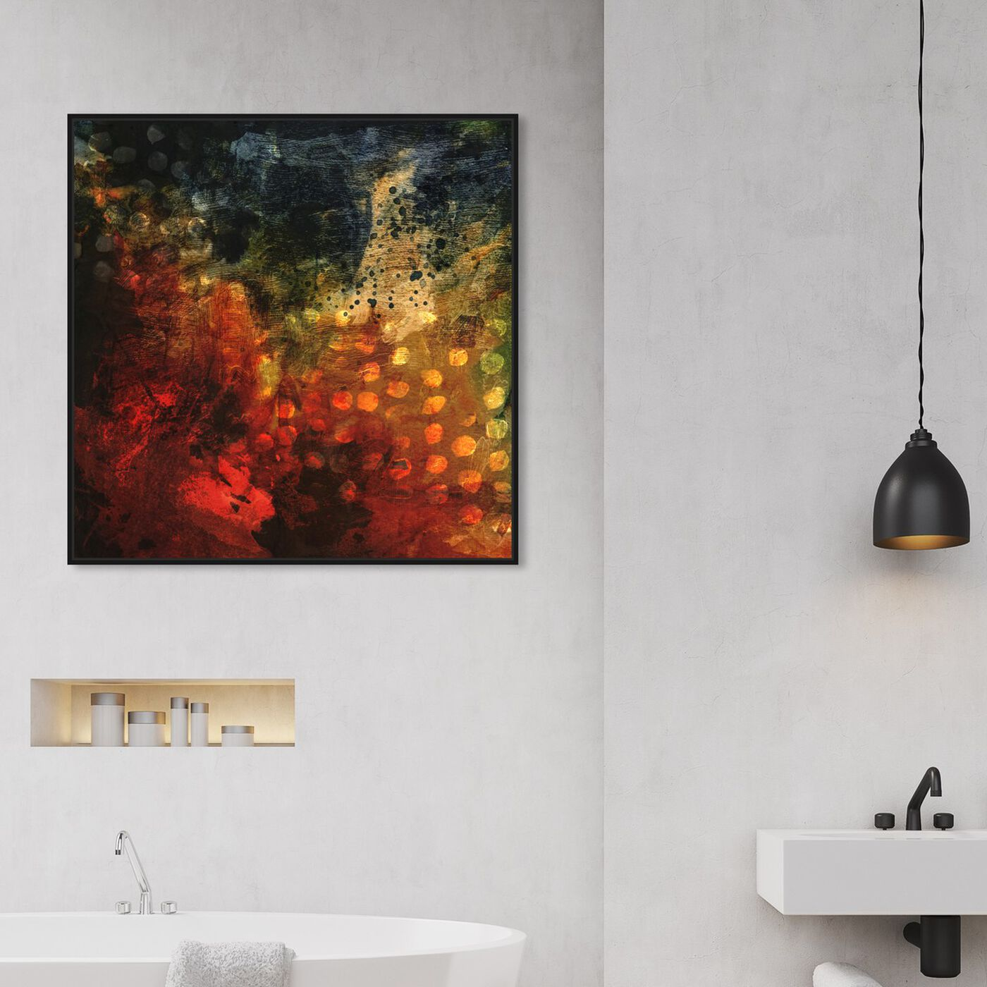 Hanging view of Blood in the Water featuring abstract and paint art.