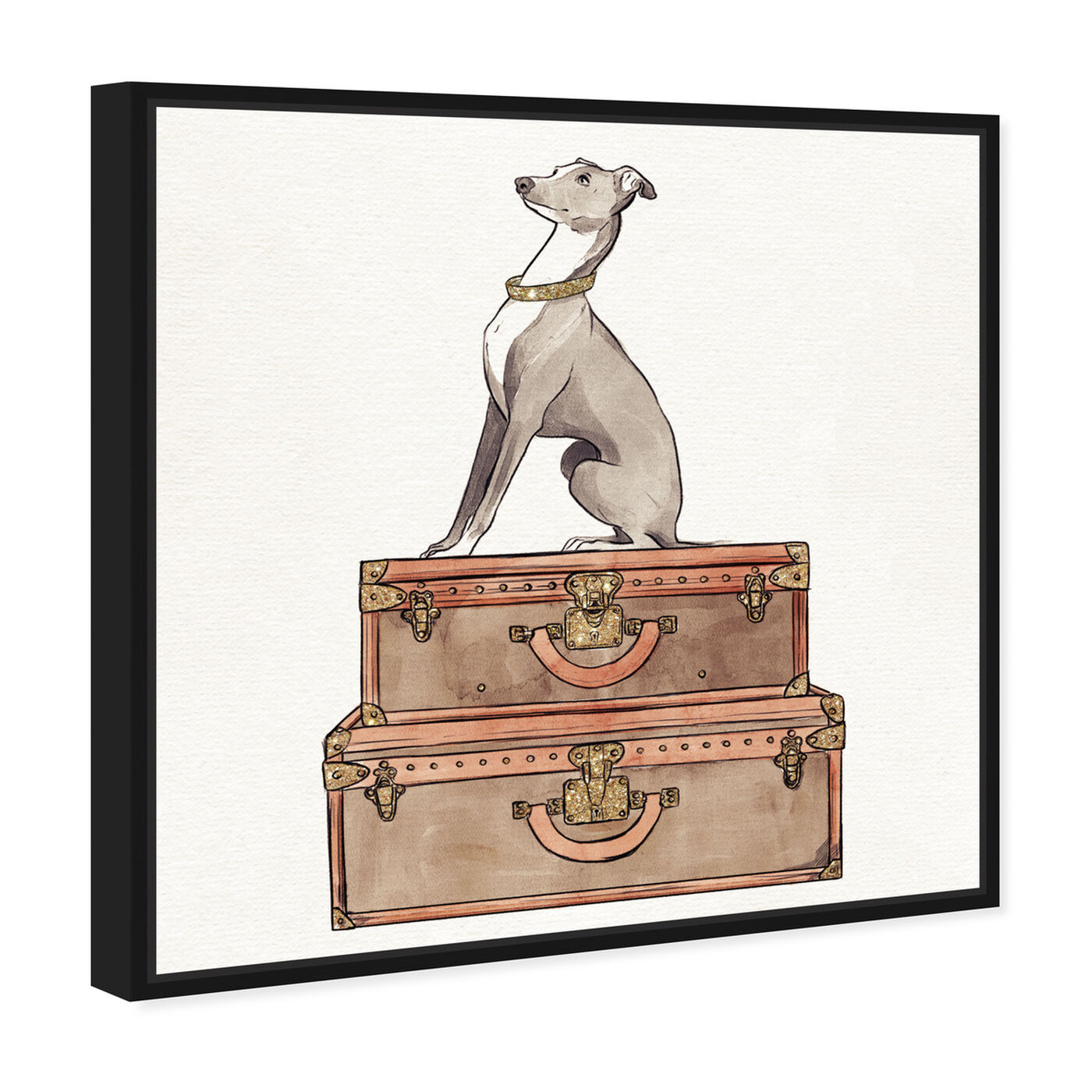 Angled view of Luxury Greyhound featuring fashion and glam and travel essentials art.