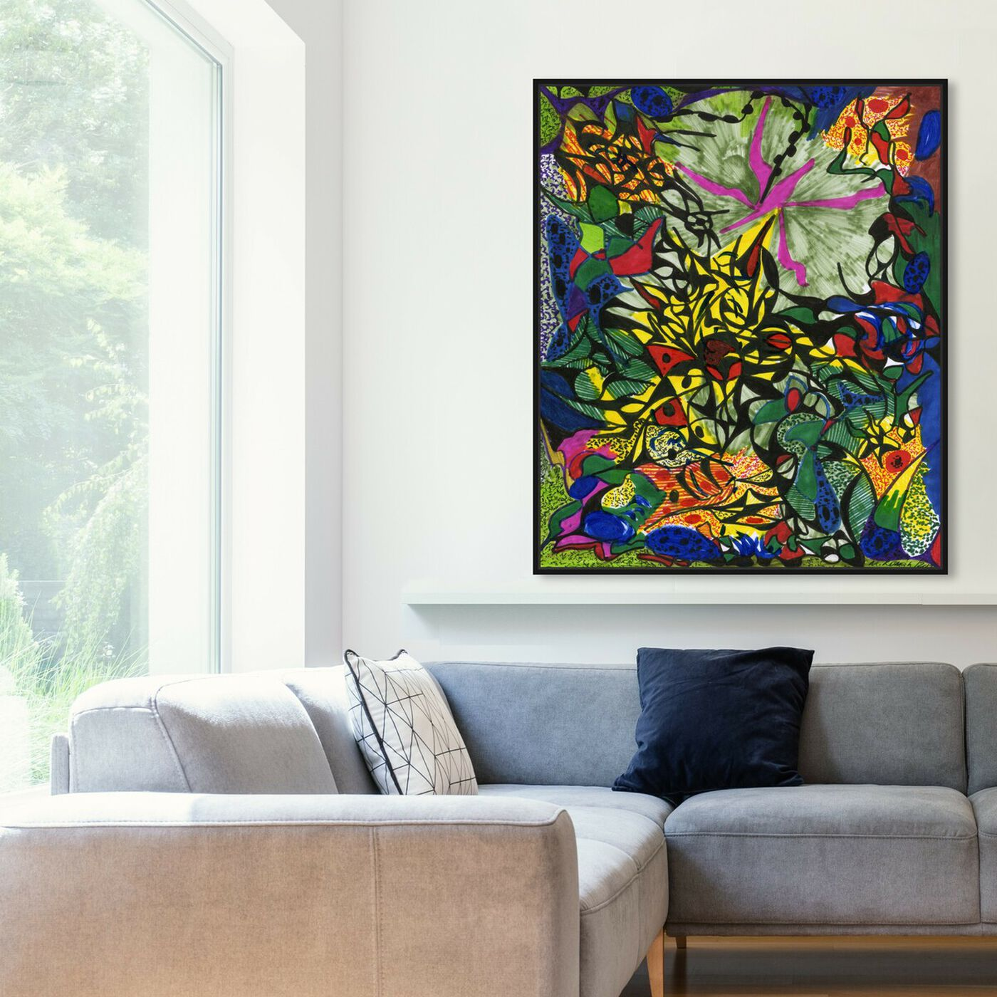 Hanging view of Forest Fire featuring abstract and shapes art.