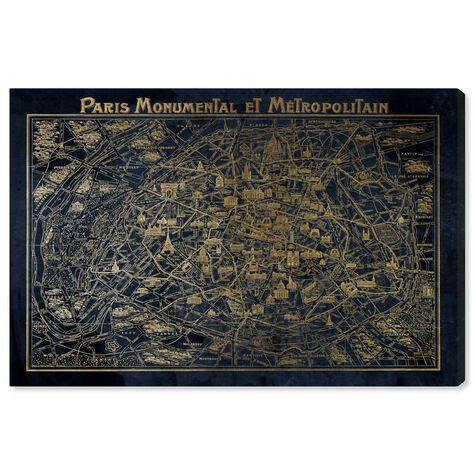 Navy Gold Paris Map