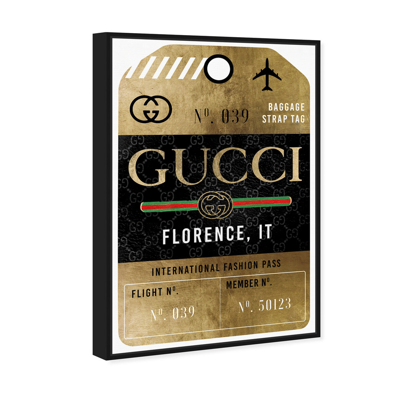 Angled view of Glamorous Pass Luggage Tag featuring fashion and glam and travel essentials art.