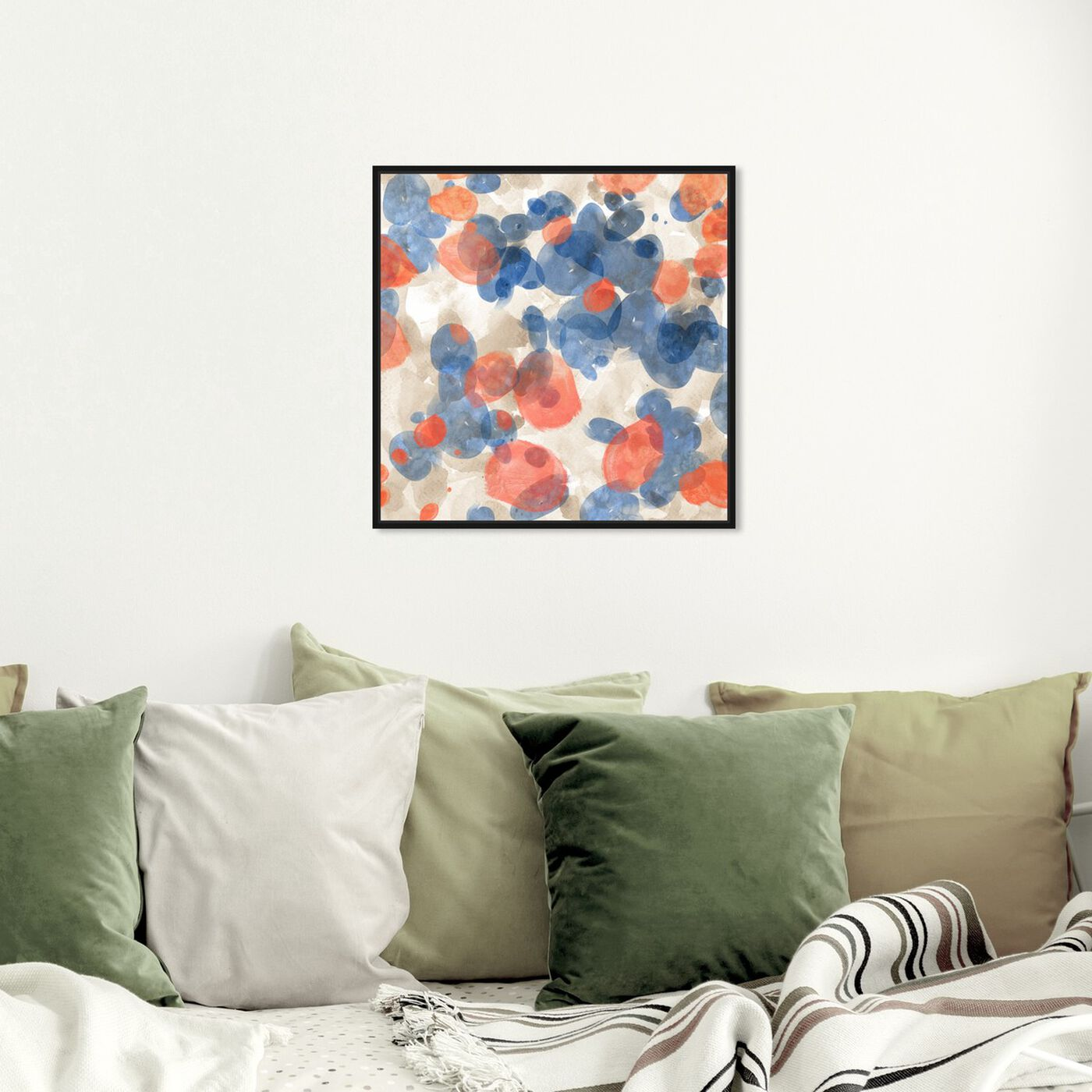 Hanging view of Floating Petals featuring abstract and paint art.