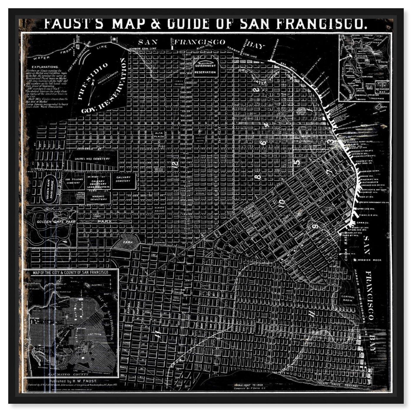 Front view of Faust's Map of San Francisco 1882 featuring maps and flags and us cities maps art.