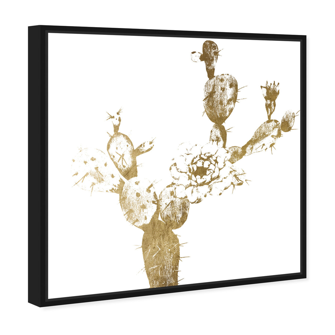 Angled view of Cactus Gold I featuring floral and botanical and botanicals art.