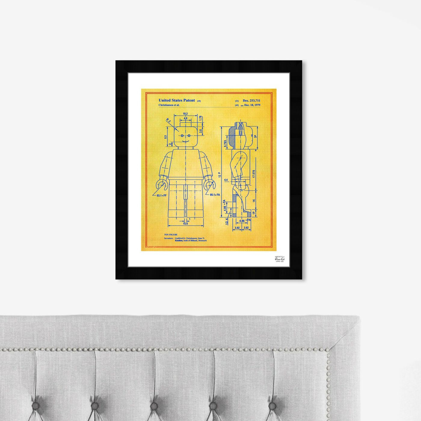 Hanging view of Lego Toy Figure 1979 - Colorful featuring symbols and objects and toys art.
