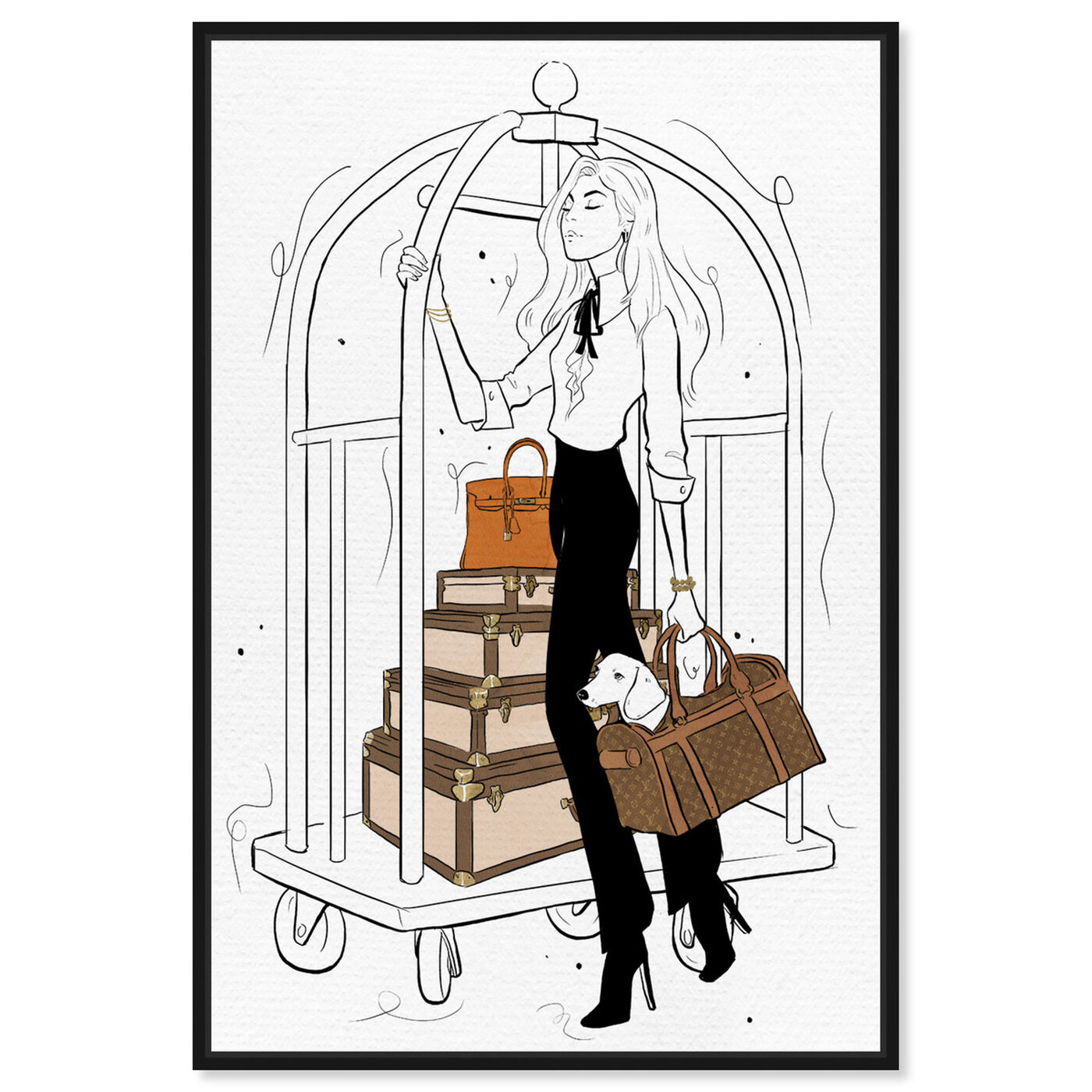Front view of Traveling with Ease featuring fashion and glam and travel essentials art.