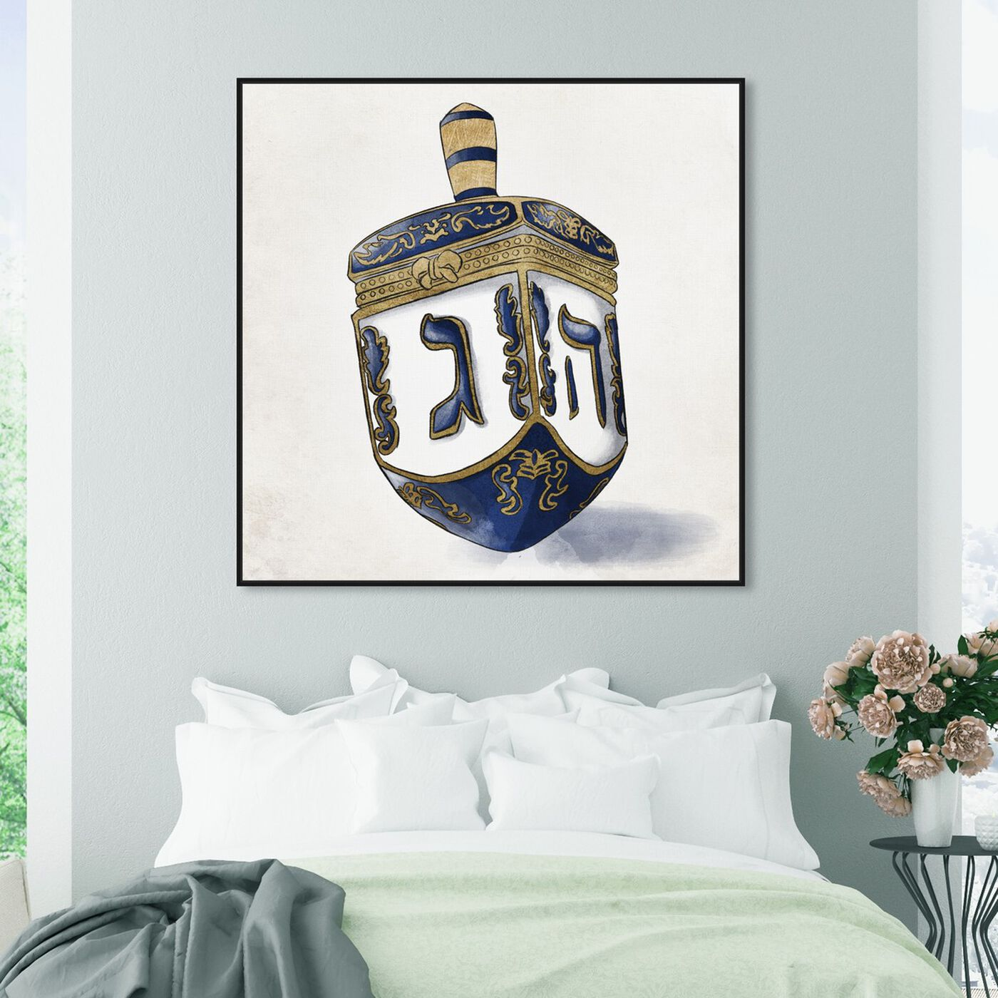 Hanging view of Decorated Dreidel Artwork featuring entertainment and hobbies and board games art.