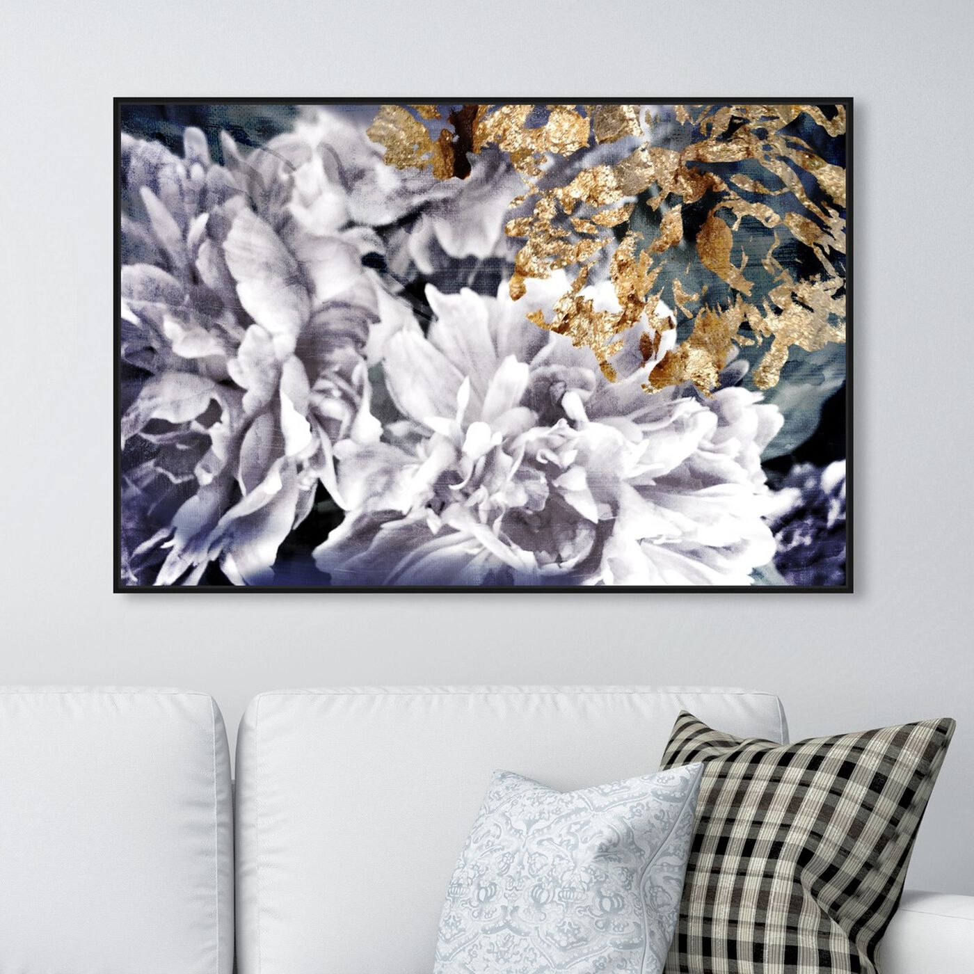 Hanging view of Dos Gardenias featuring floral and botanical and florals art.