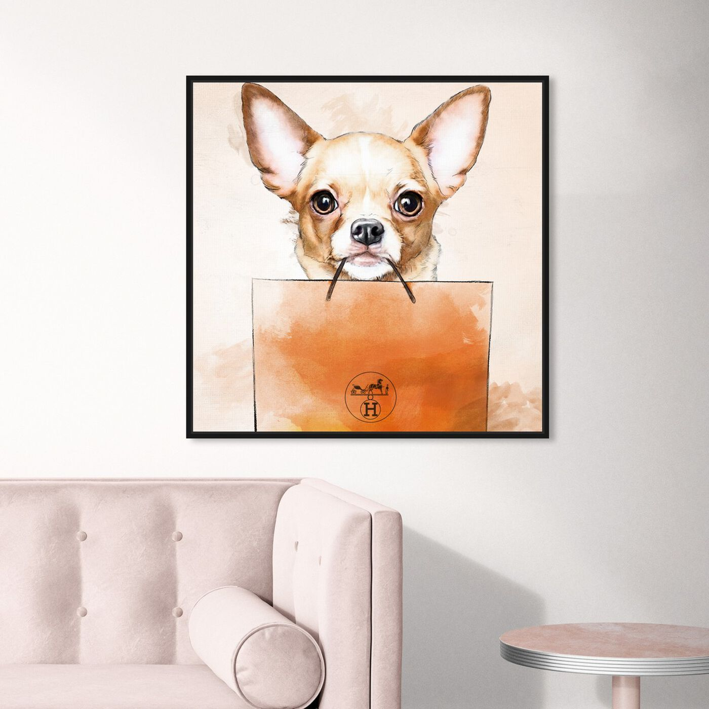 Hanging view of Chihuahua Watercolor Bag featuring animals and dogs and puppies art.