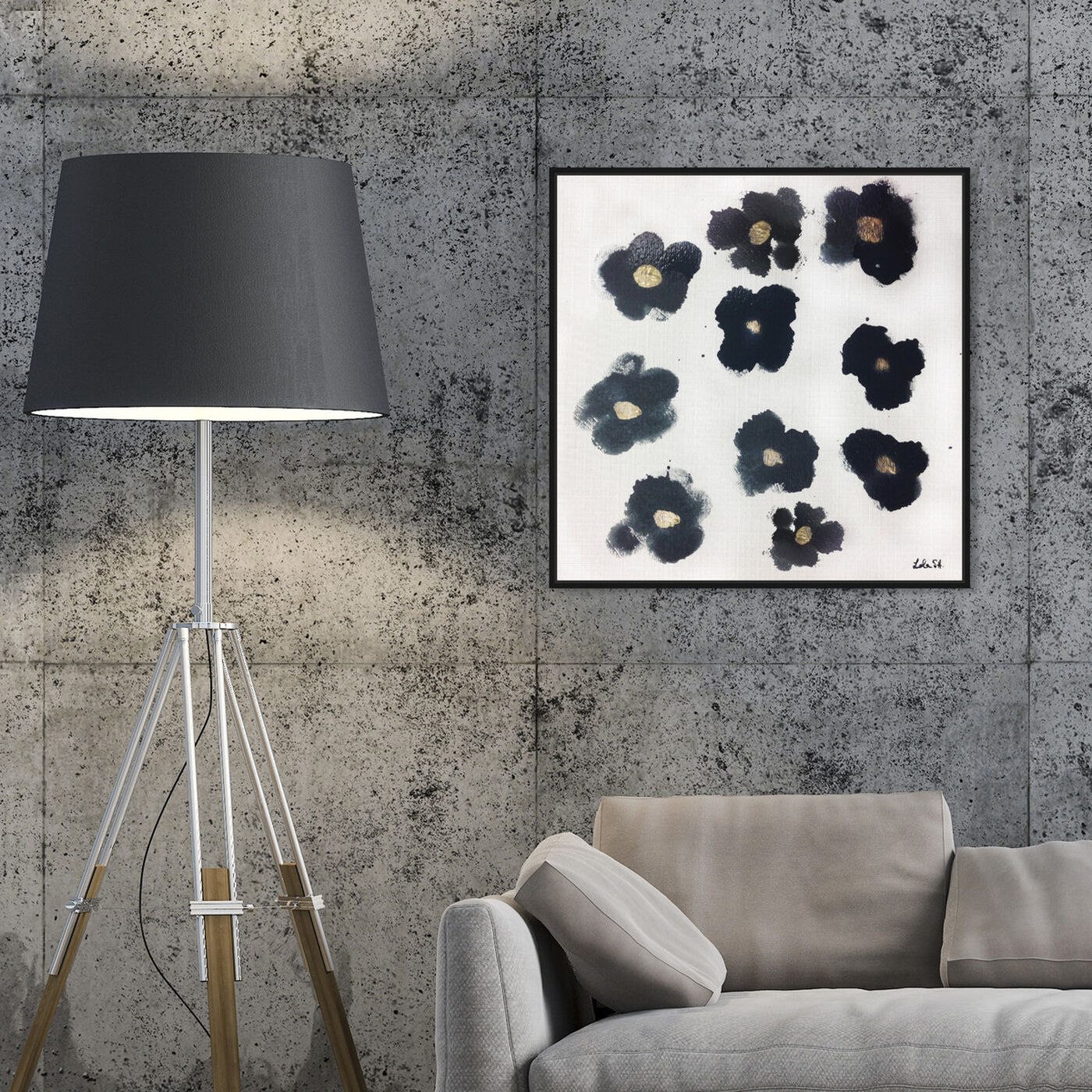 Hanging view of Coco's Gold Camellias featuring floral and botanical and florals art.