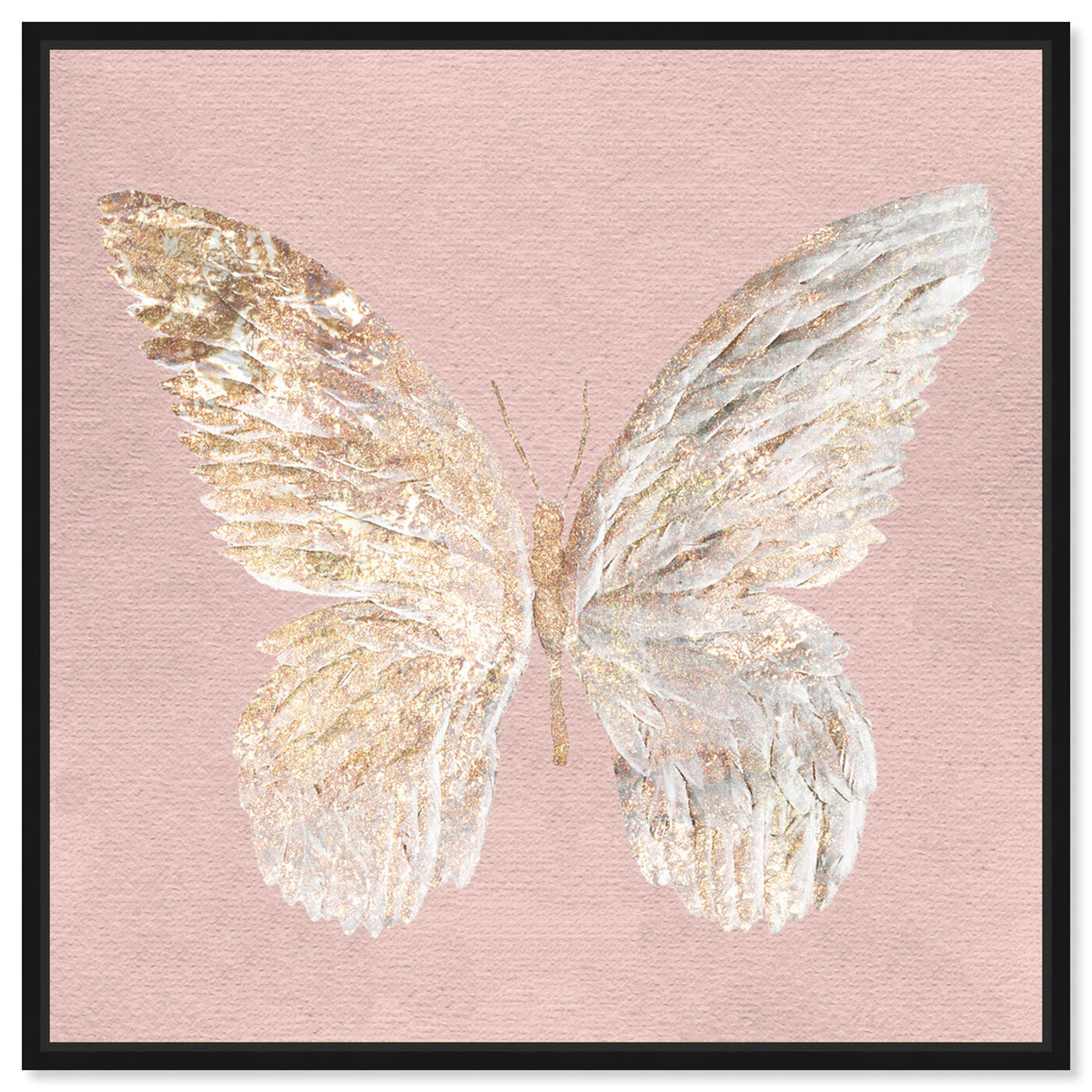 Front view of Golden Butterfly Glimmer Blush featuring animals and insects art.