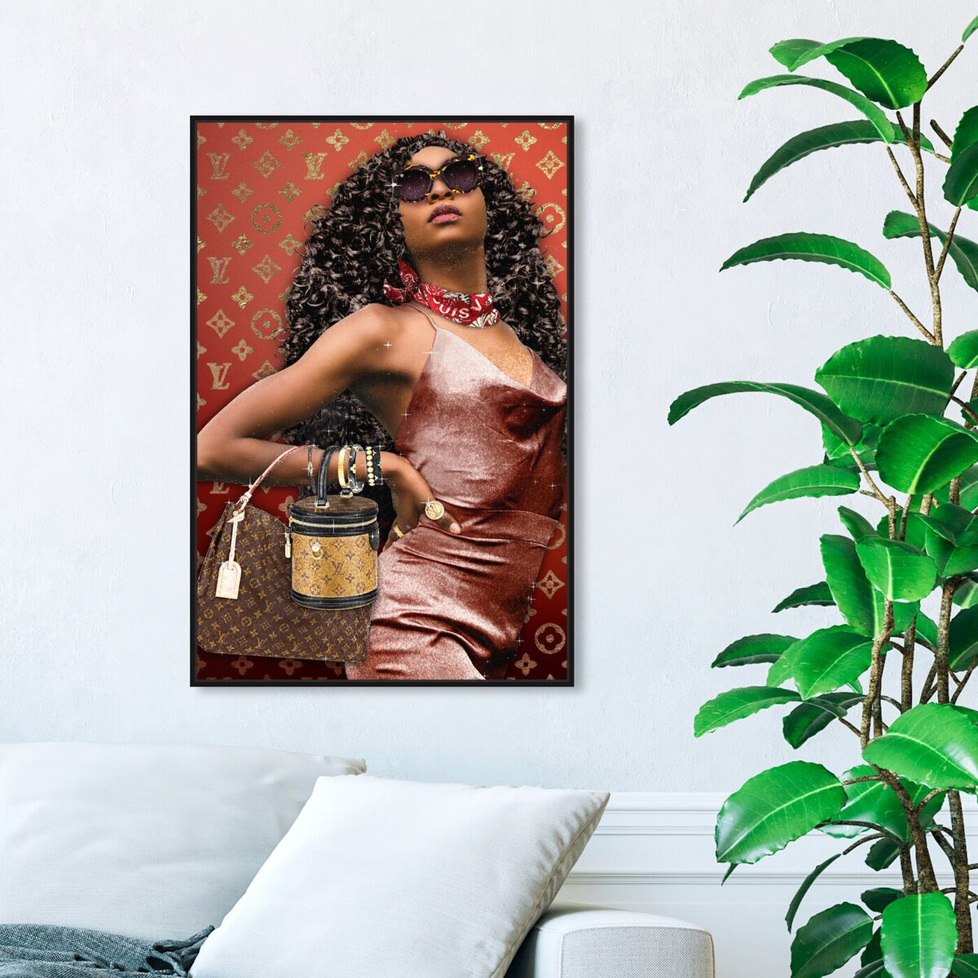 Hanging view of Bye Girl Bye featuring fashion and glam and handbags art.