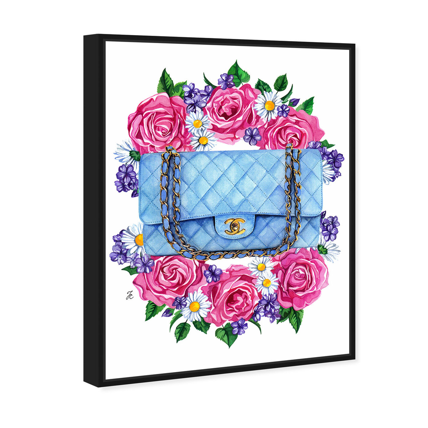 Angled view of Doll Memories - Pastel Blues featuring fashion and glam and handbags art.