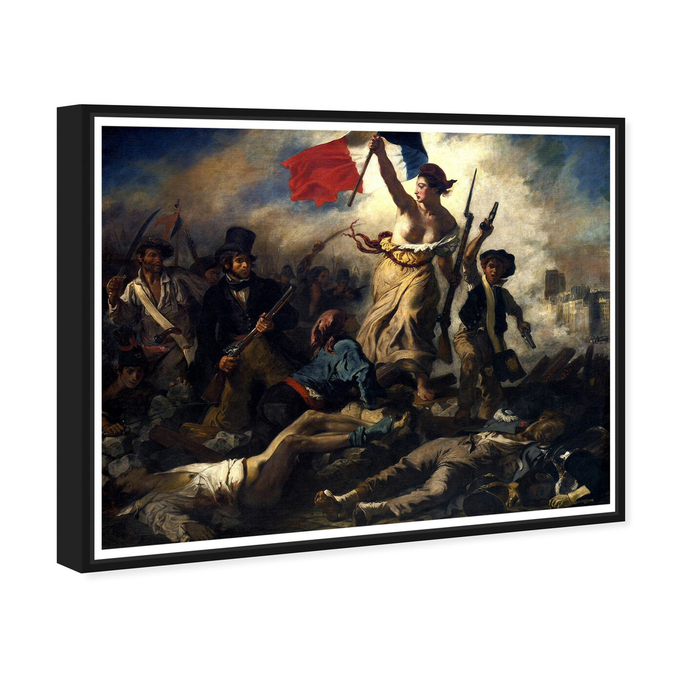 Angled view of Delacroix - La Liberte Guidant Le Peuple featuring classic and figurative and classical figures art.