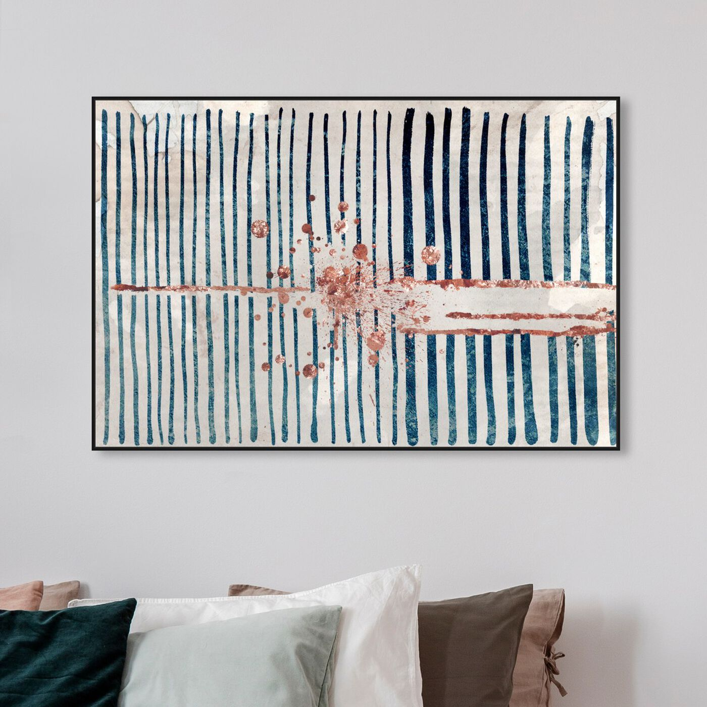 Hanging view of Love Force Field Copper featuring abstract and shapes art.