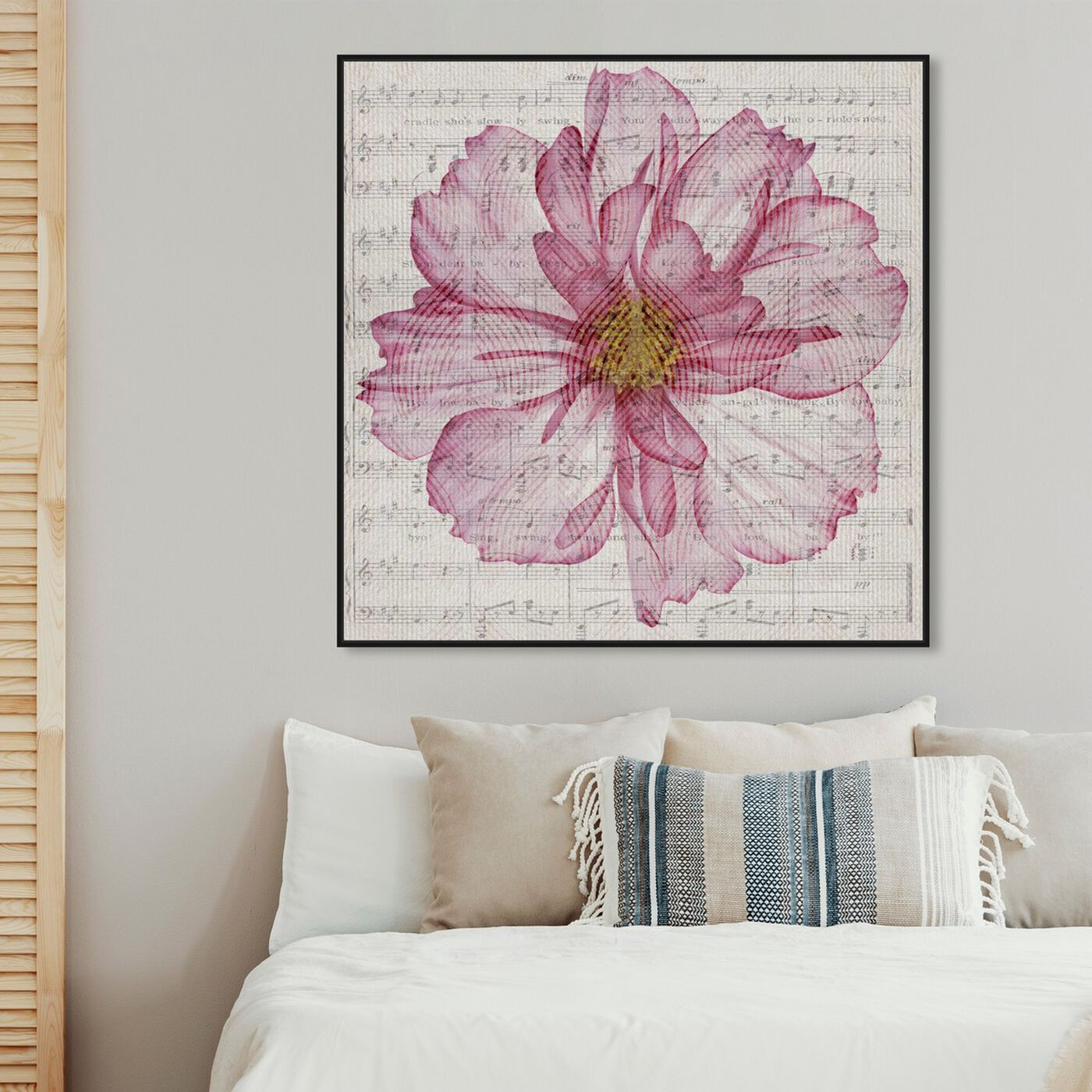 Hanging view of Letters East in Marsala featuring floral and botanical and florals art.