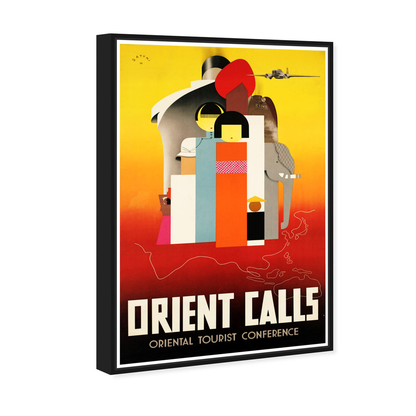 Angled view of Orient Calls featuring advertising and posters art.