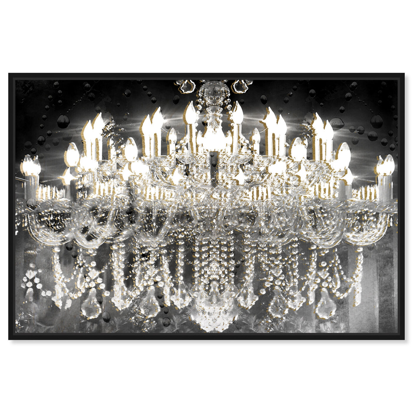 Front view of Black and Gold Diamond Entrance featuring fashion and glam and chandeliers art.