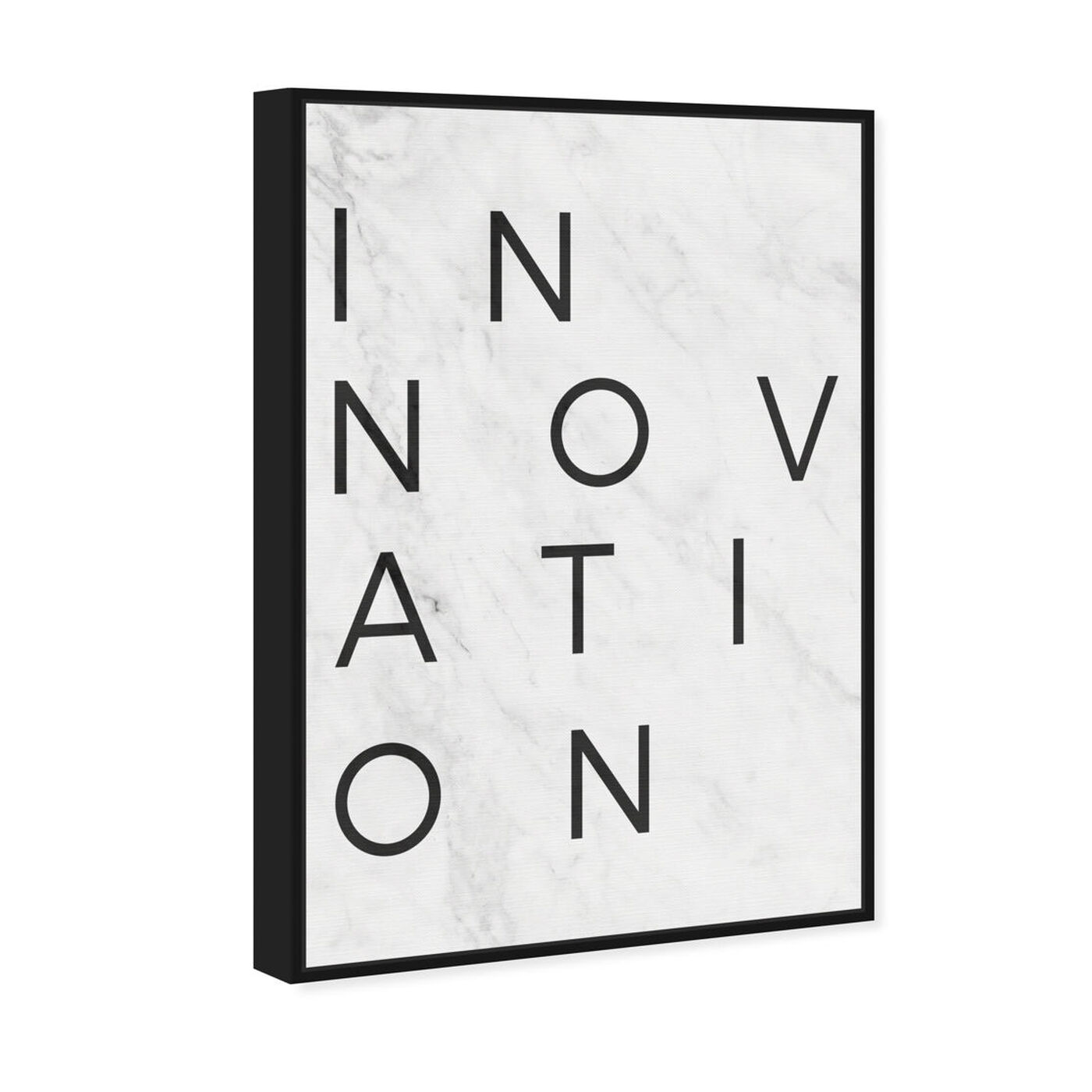Angled view of Innovation Minimalist Marble Paper featuring typography and quotes and motivational quotes and sayings art.