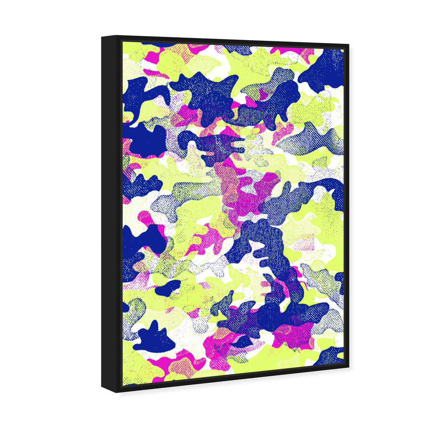 Angled view of Camo TWO featuring abstract and paint art.