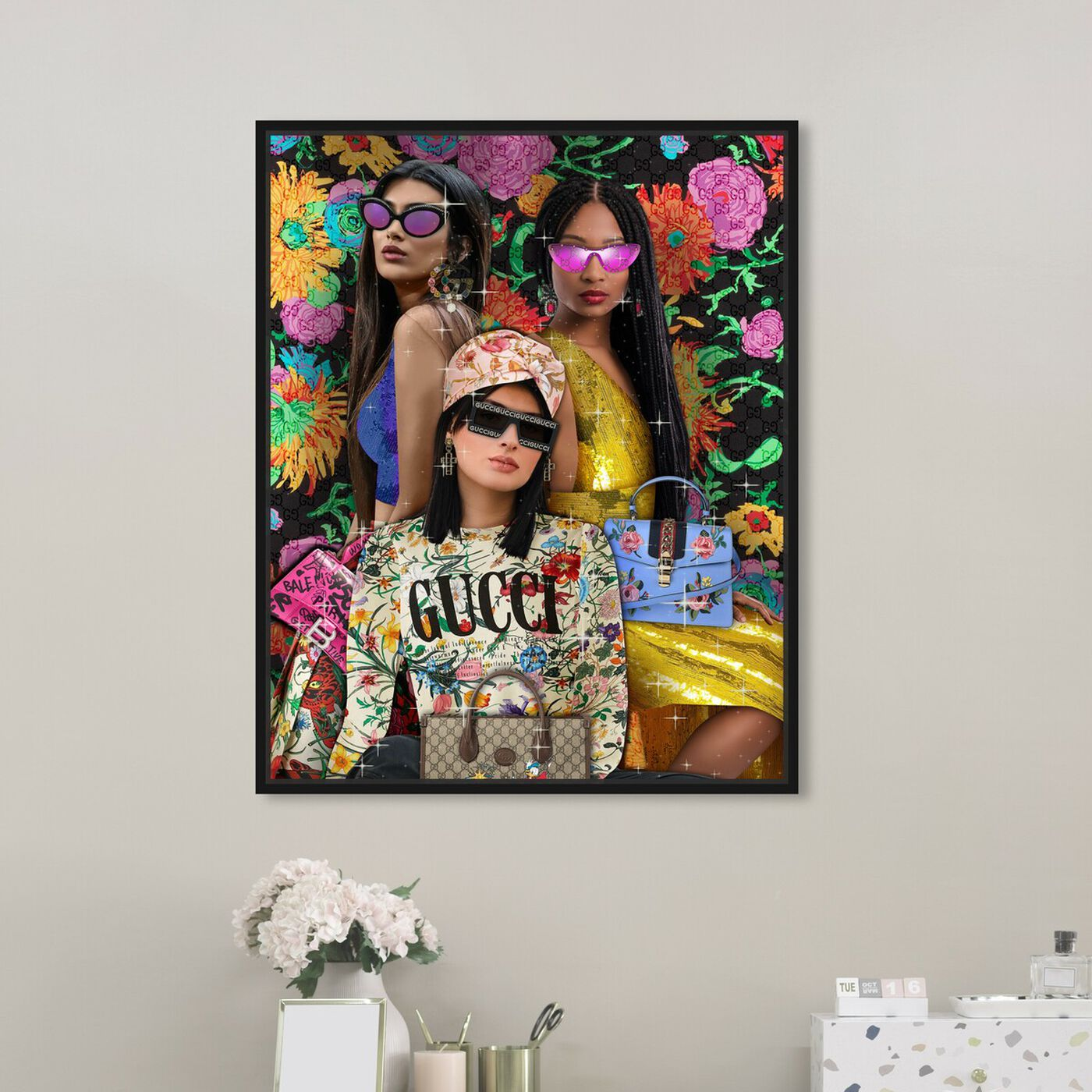 Hanging view of Squad Goals featuring fashion and glam and portraits art.