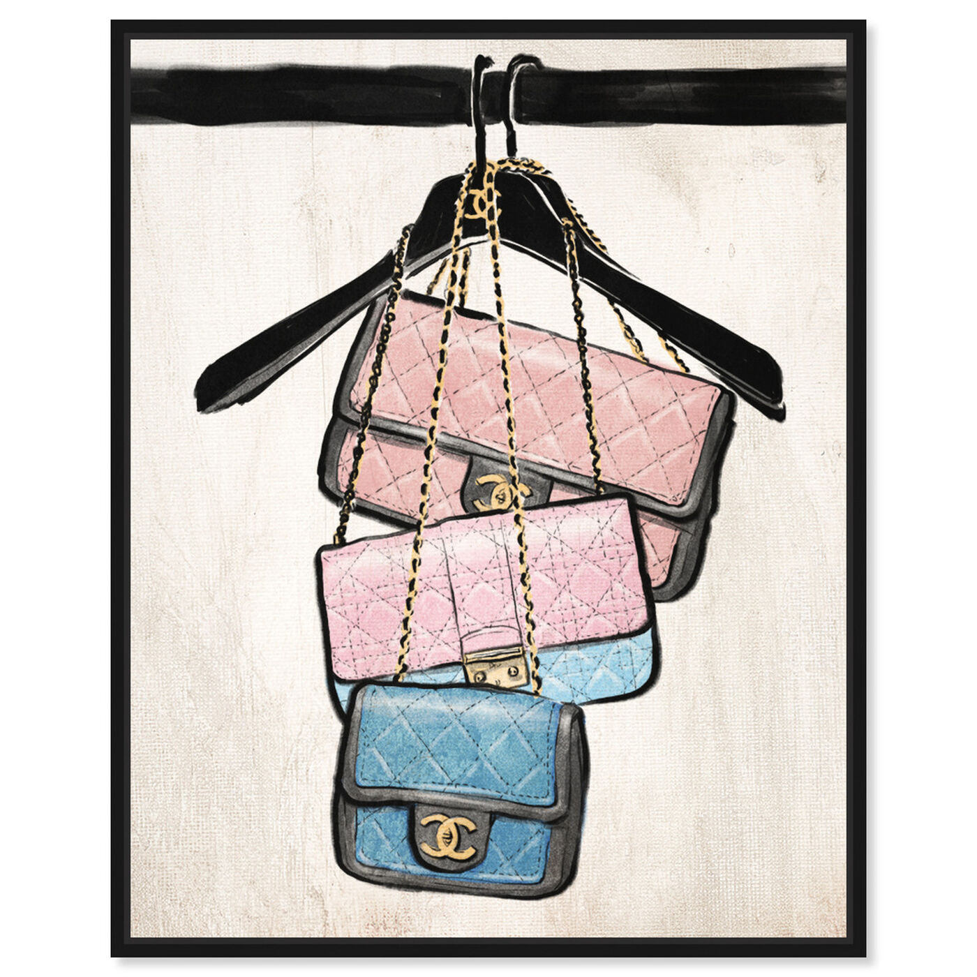 Front view of Closet Purses featuring fashion and glam and handbags art.