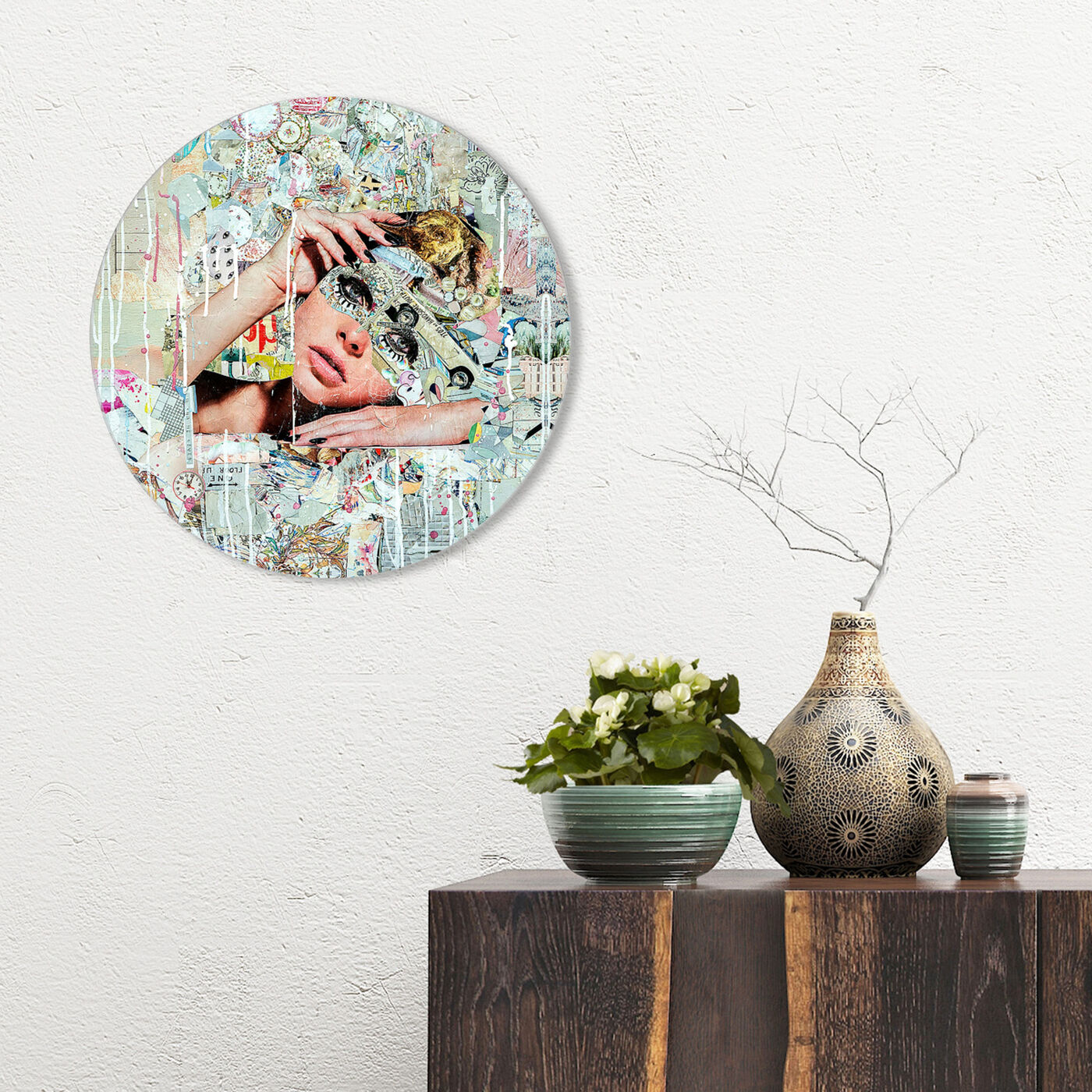 Hanging view of Katy Hirschfeld - Handsome Youths Circle Art featuring fashion and glam and portraits art.