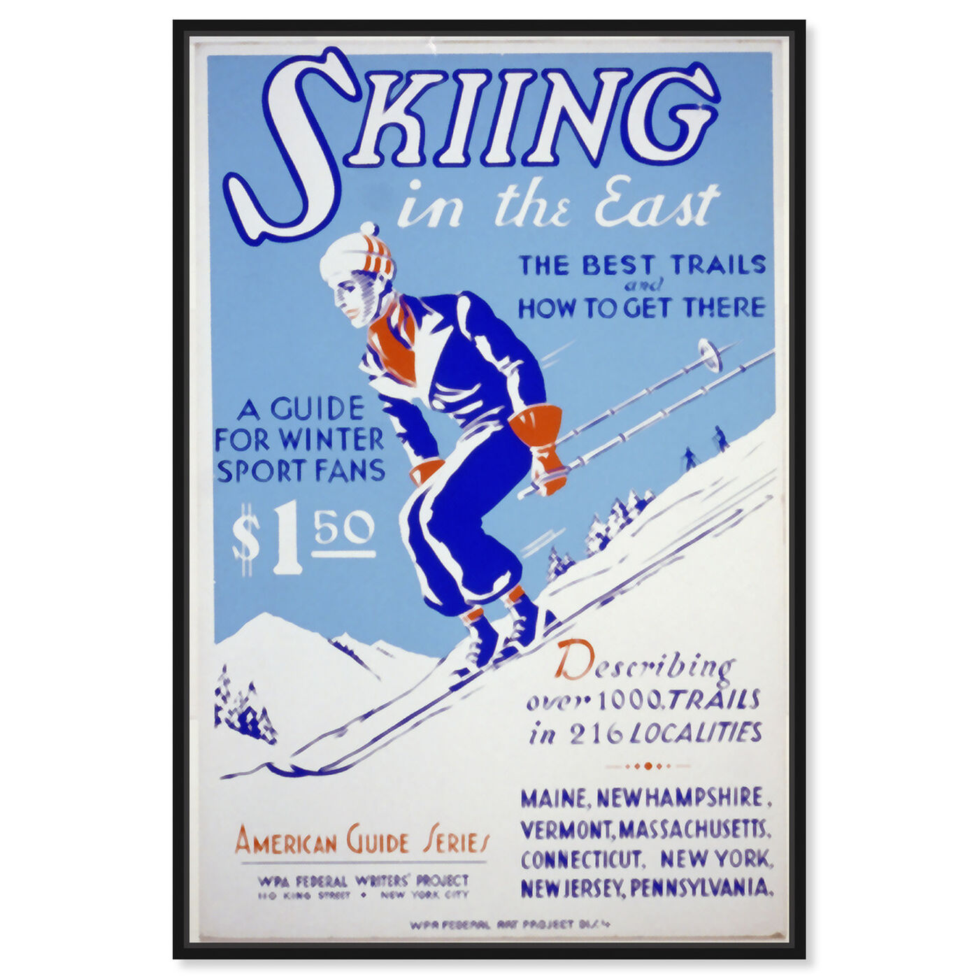 Front view of Skiing in the East featuring advertising and posters art.
