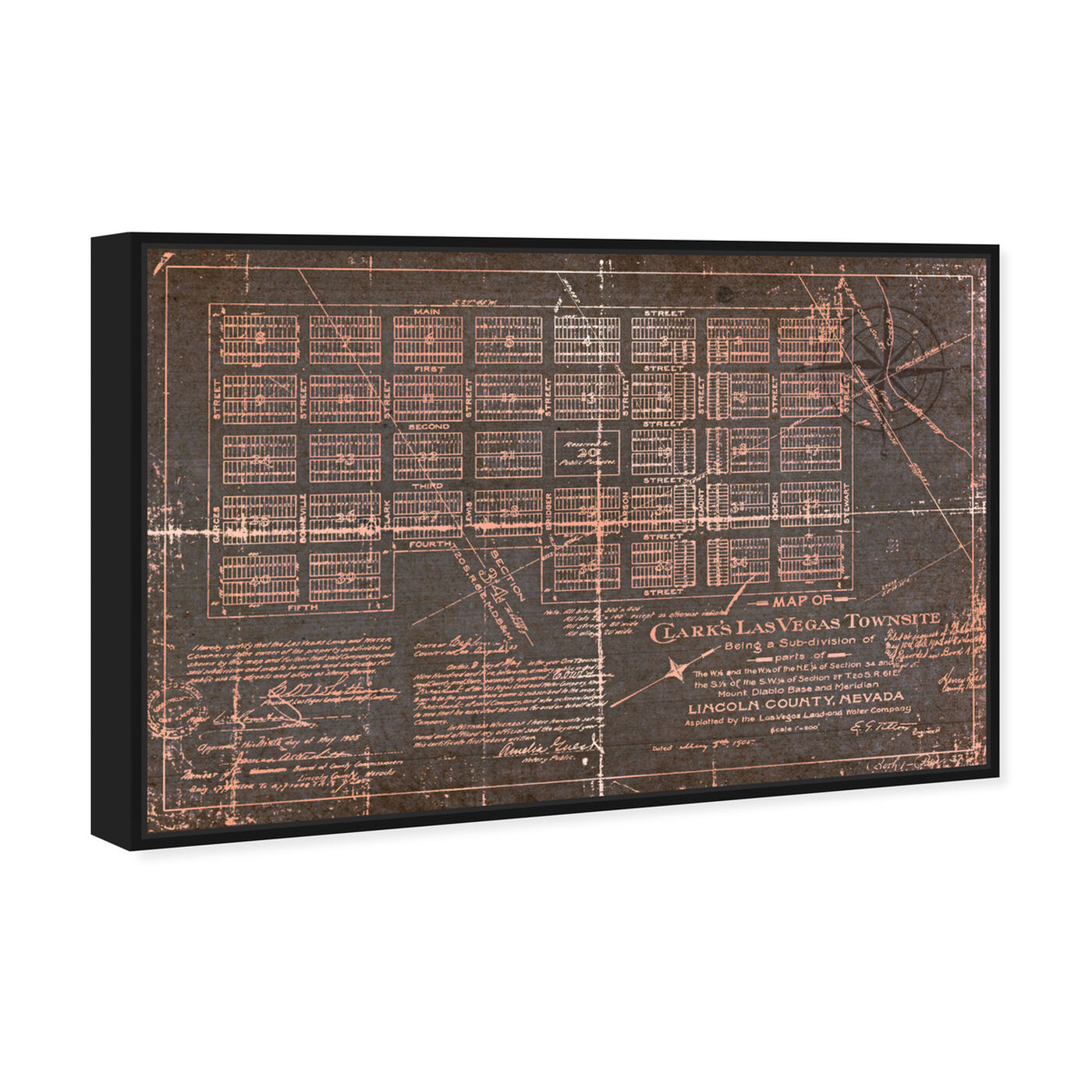 Angled view of Las Vegas Map featuring maps and flags and us cities maps art.