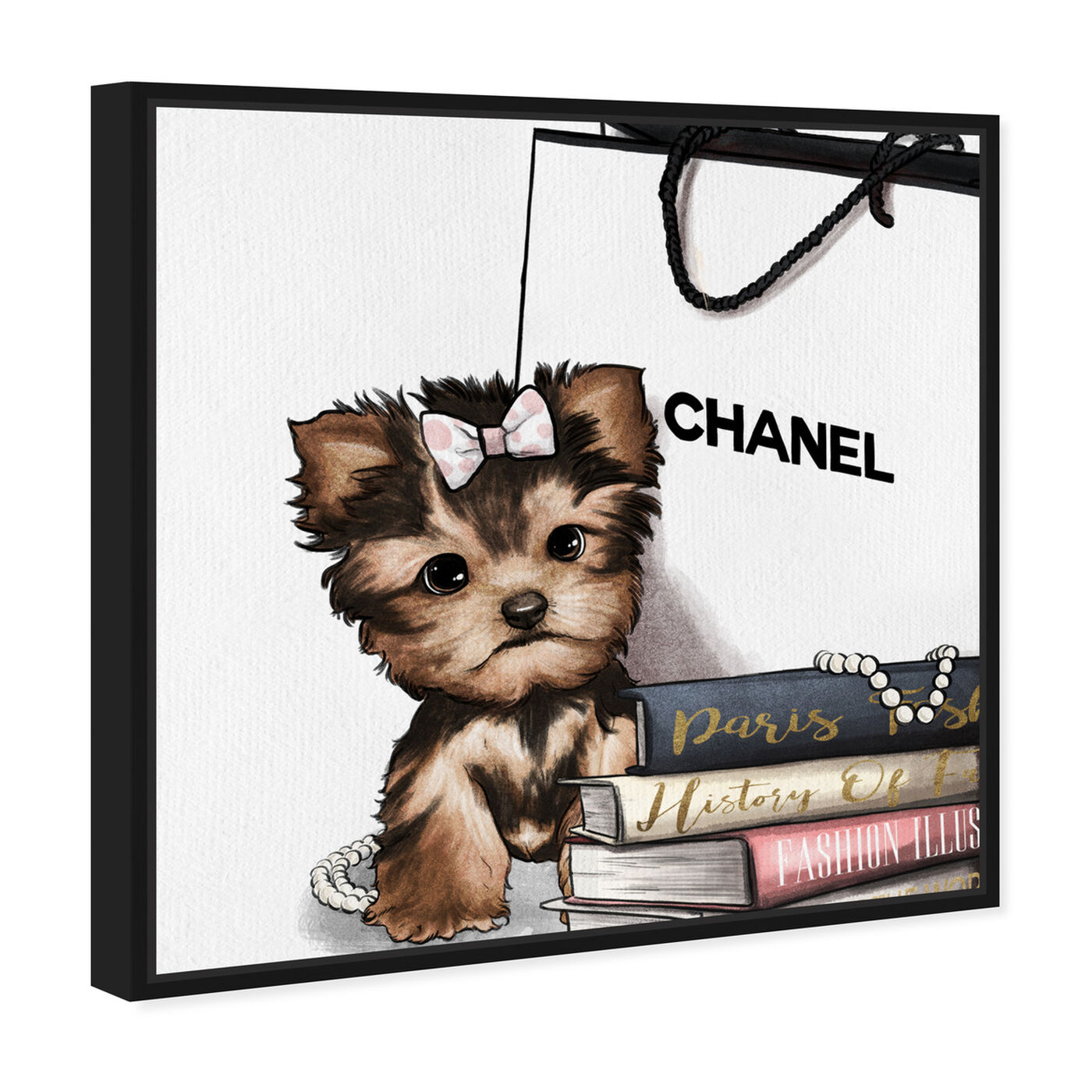 Angled view of Fashion Book Yorkie Glam featuring animals and dogs and puppies art.