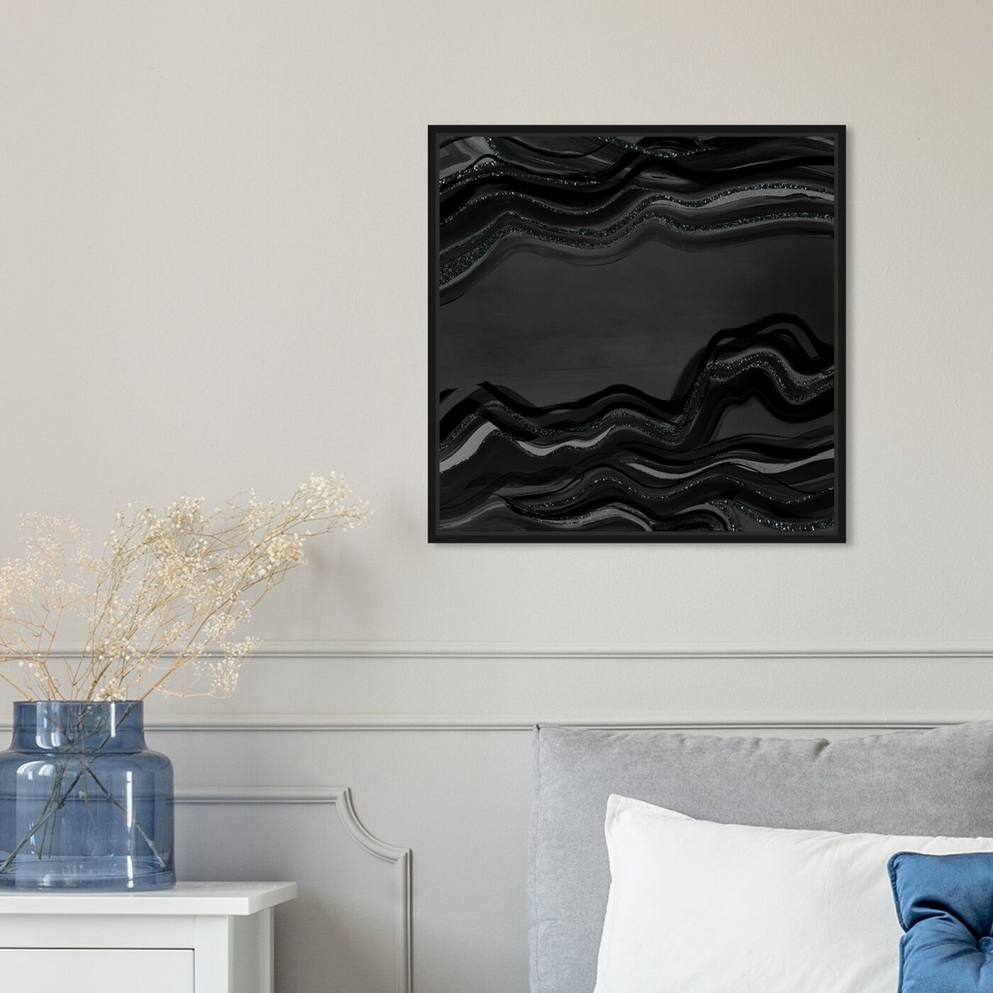 Hanging view of Night Flow Dark Glitter featuring abstract and paint art.