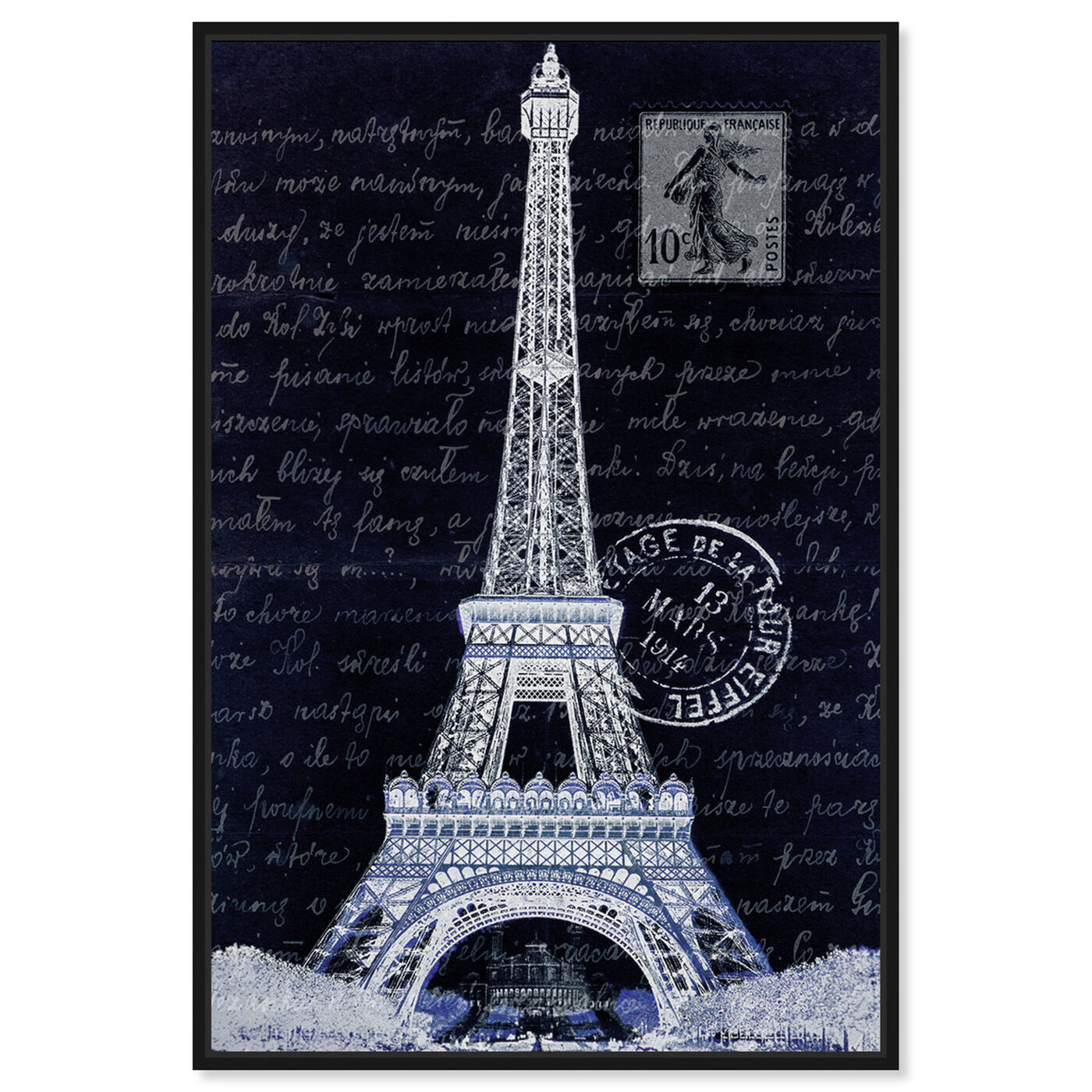 Front view of Eiffel Thoughts Night featuring architecture and buildings and european buildings art.