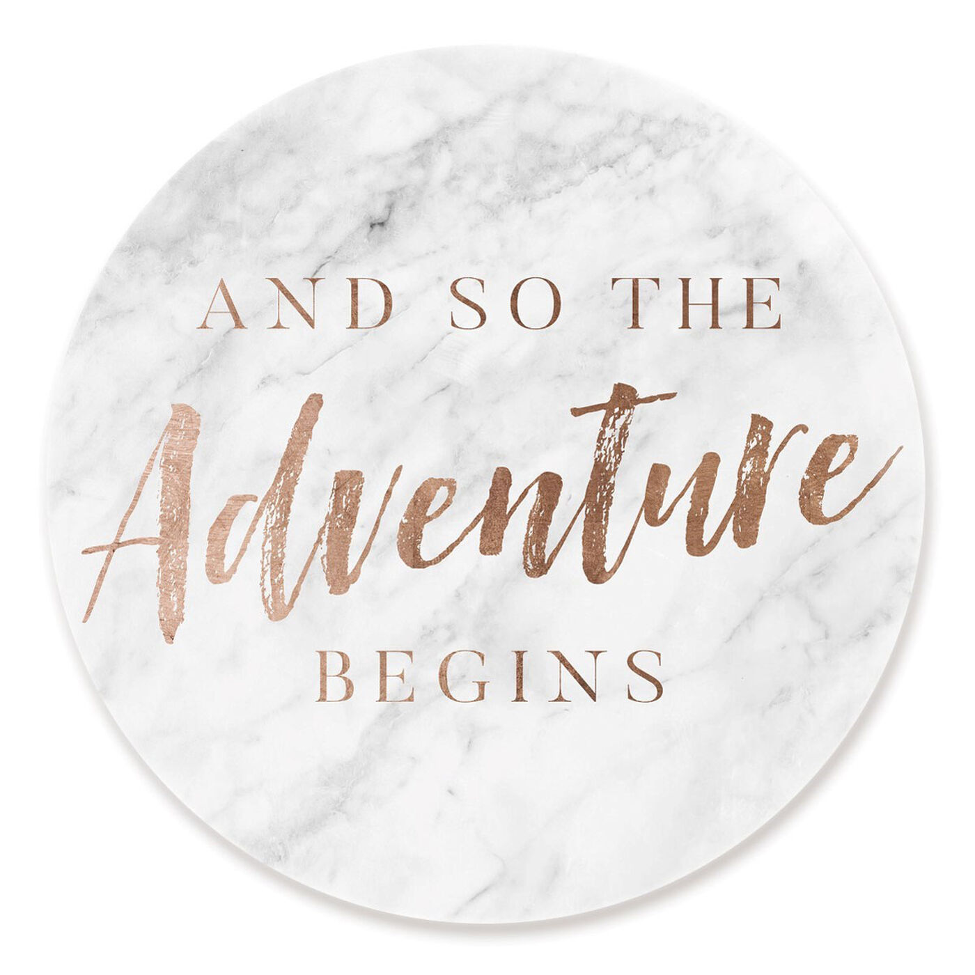 Front view of The Adventure Begins Copper featuring typography and quotes and motivational quotes and sayings art.