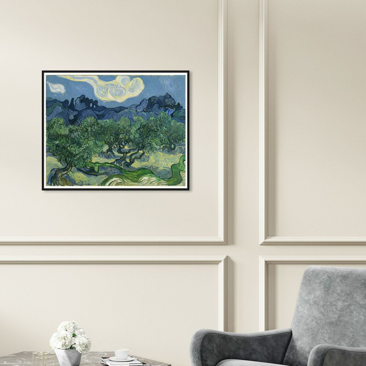 Hanging view of Van Gogh - The Olive Trees featuring classic and figurative and impressionism art.