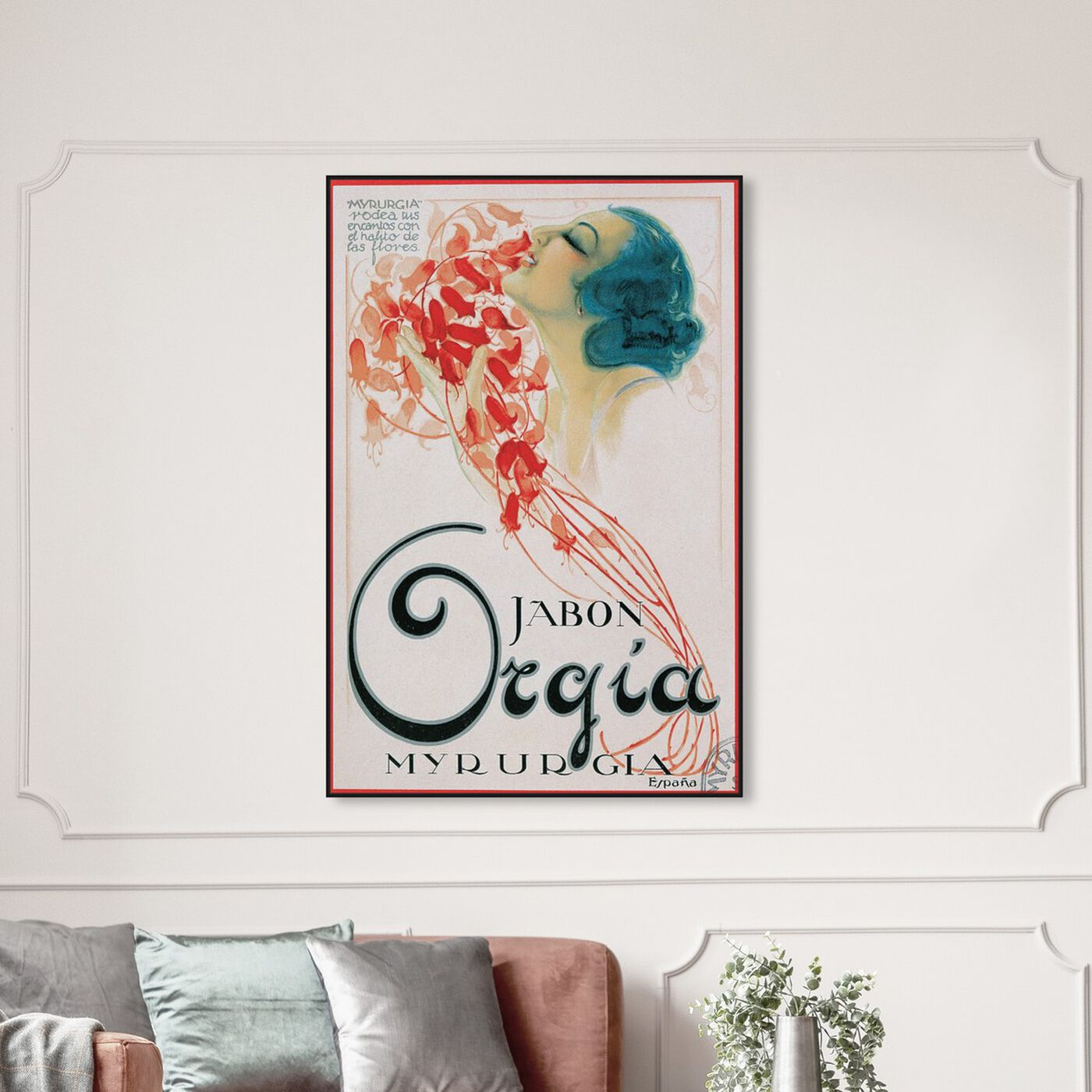 Hanging view of Orgia Vintage Soap Ad featuring advertising and posters art.