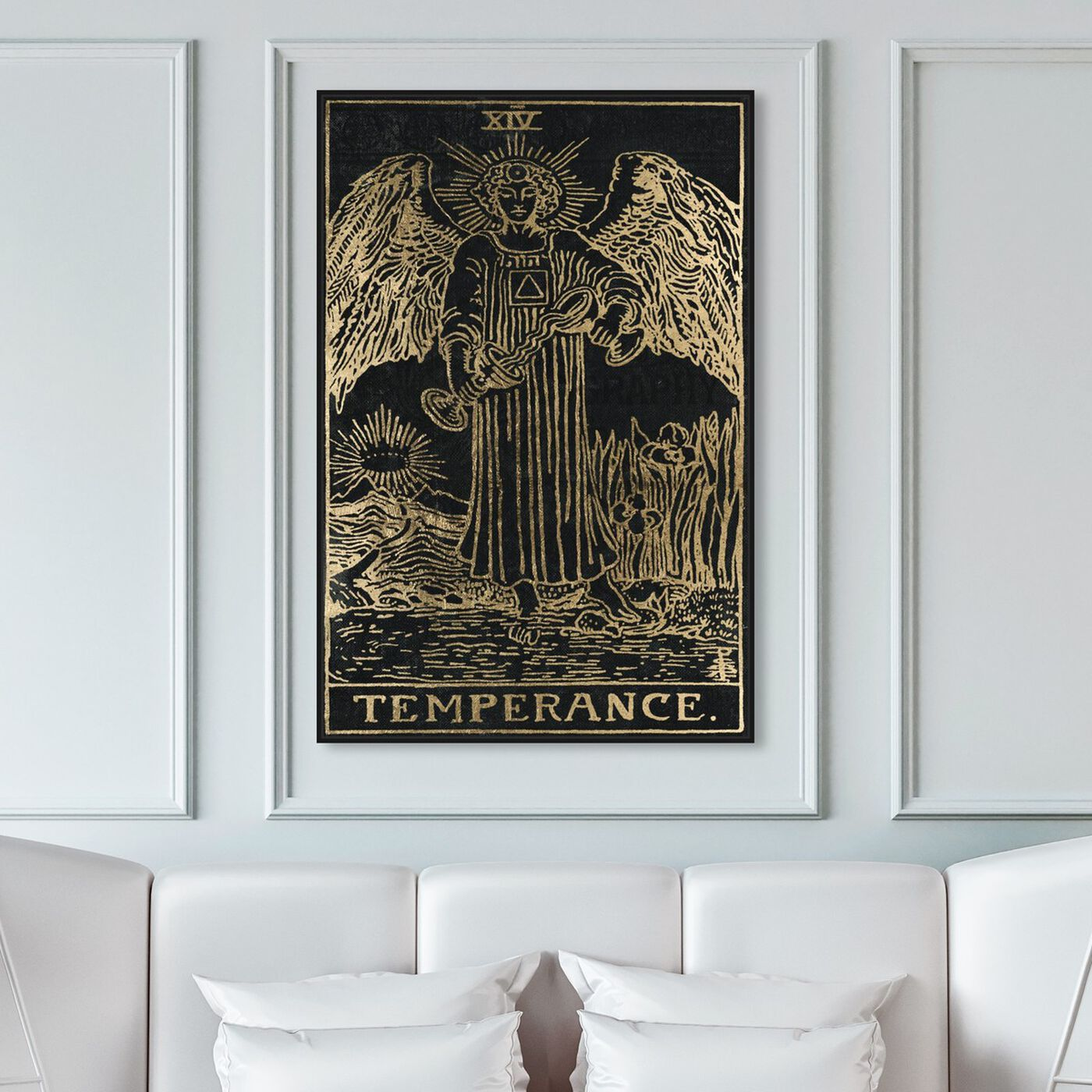 Hanging view of Temperance Tarot featuring spiritual and religious and astrology art.