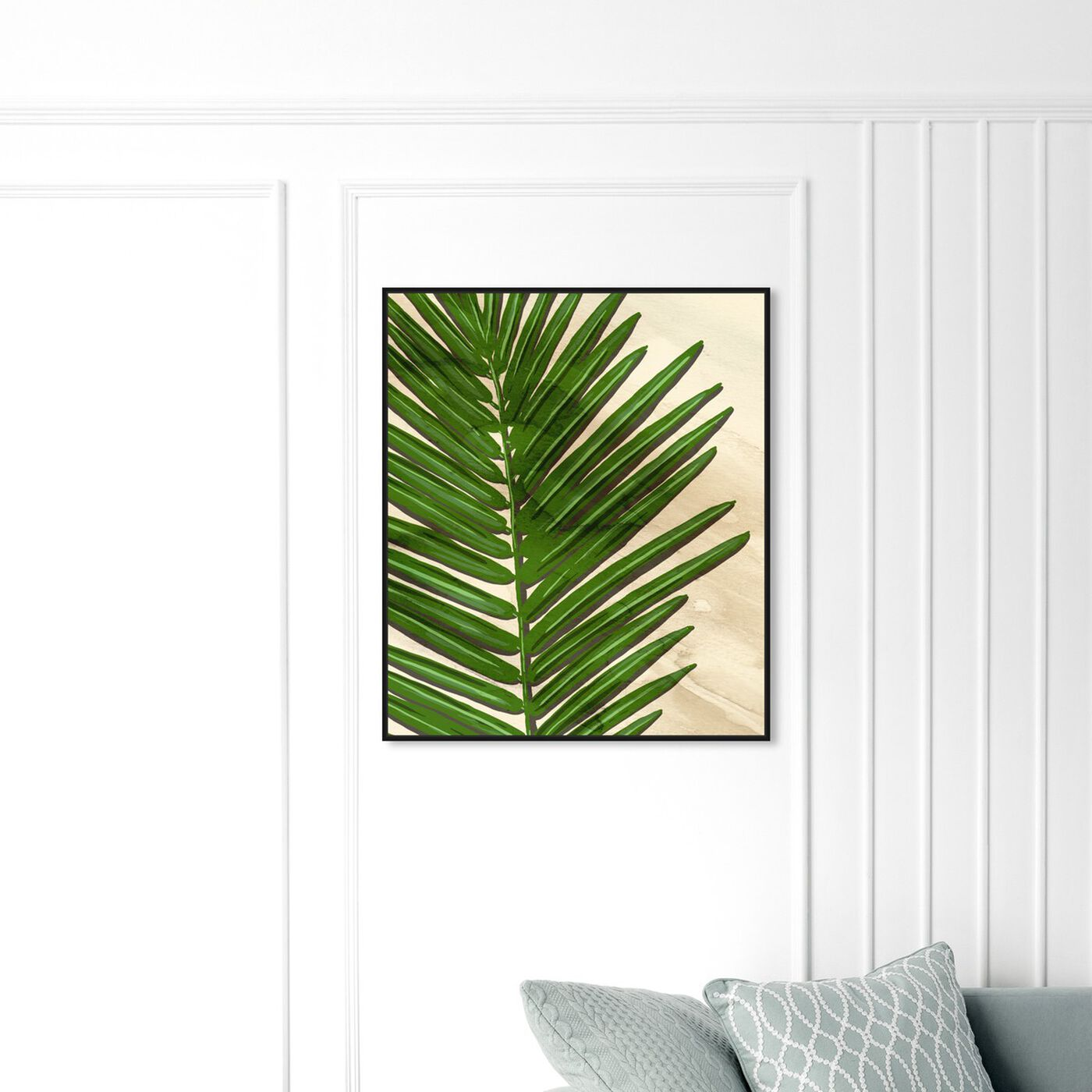 Hanging view of Neutral Leaves III featuring floral and botanical and botanicals art.