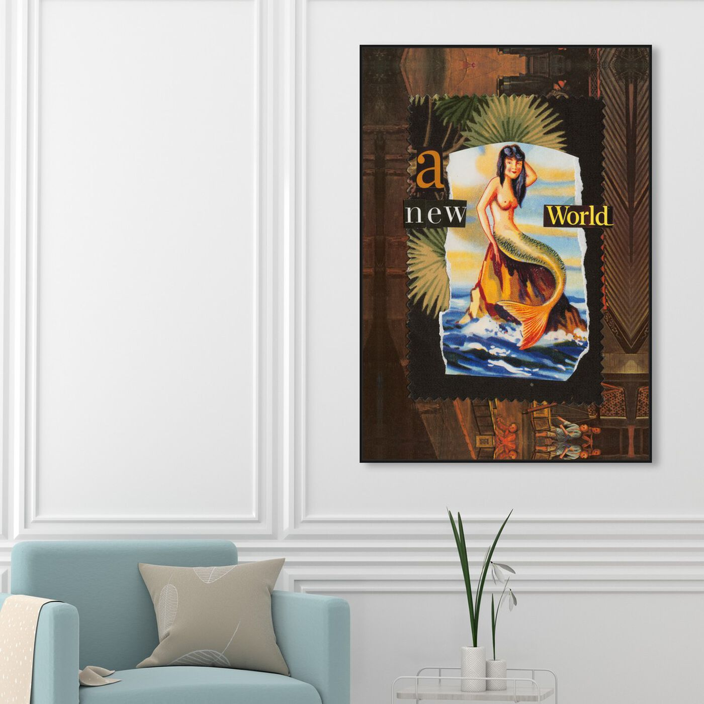 Hanging view of A New World by Anne Wadsworth featuring advertising and posters art.