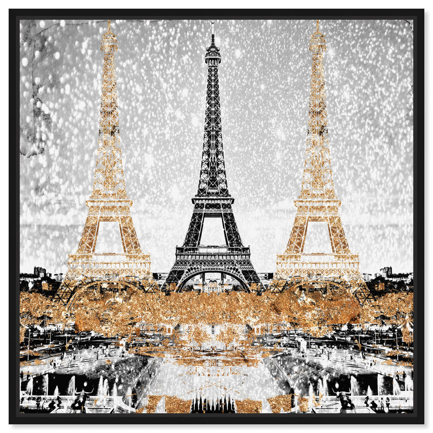 Front view of Triple Paris Gold featuring cities and skylines and european cities art.