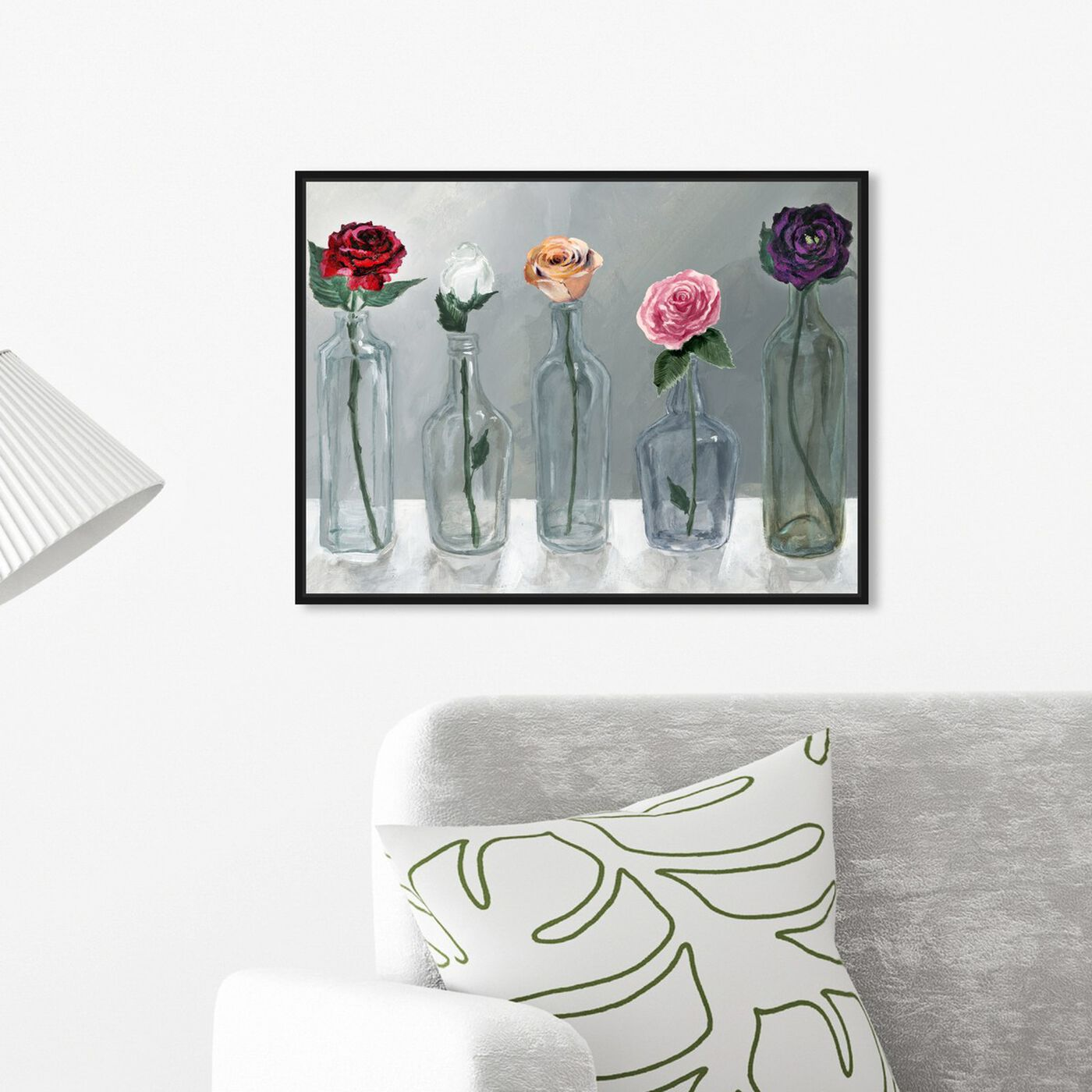 Hanging view of Bottled Flowers featuring floral and botanical and florals art.