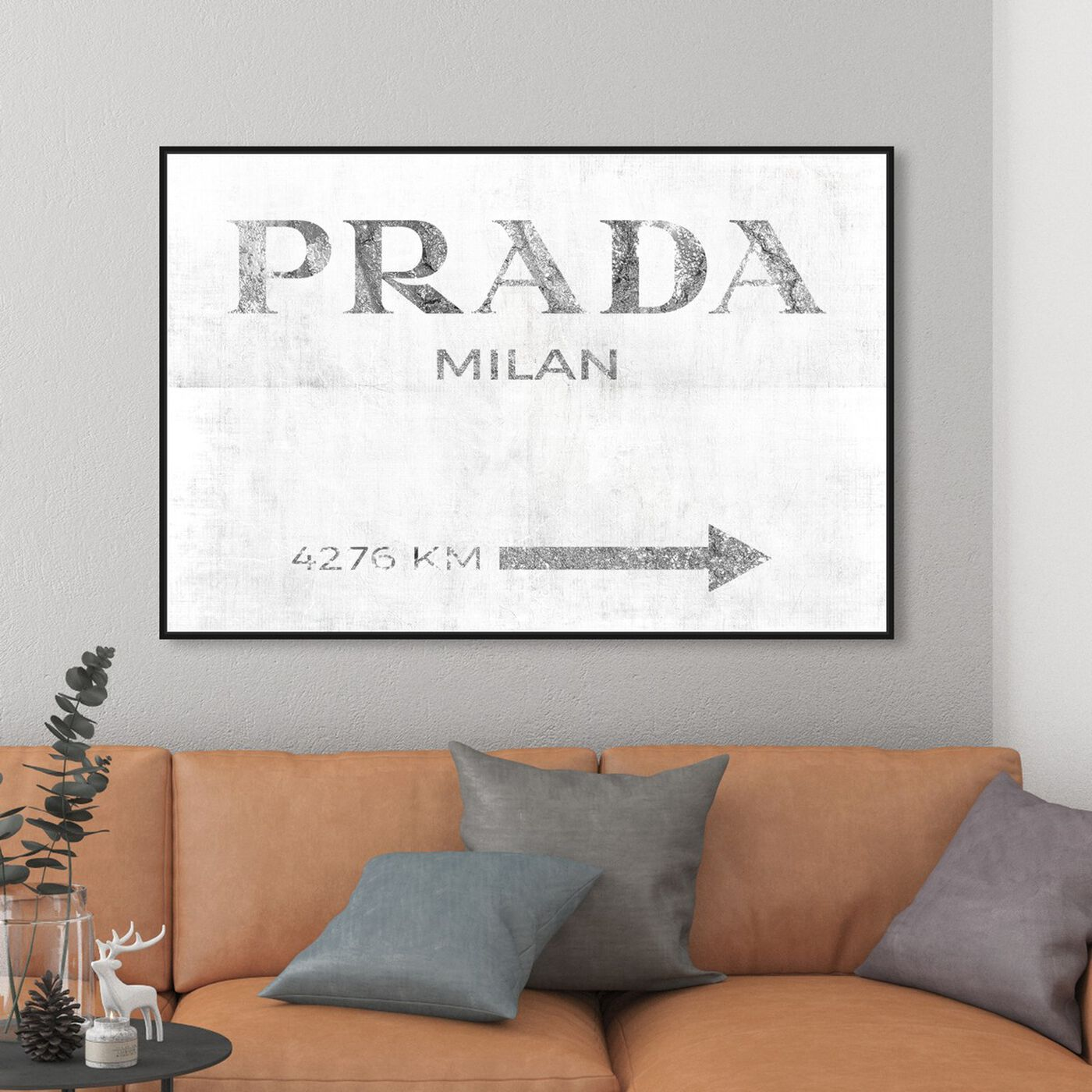 Hanging view of Milan Pure in Silver featuring fashion and glam and road signs art.