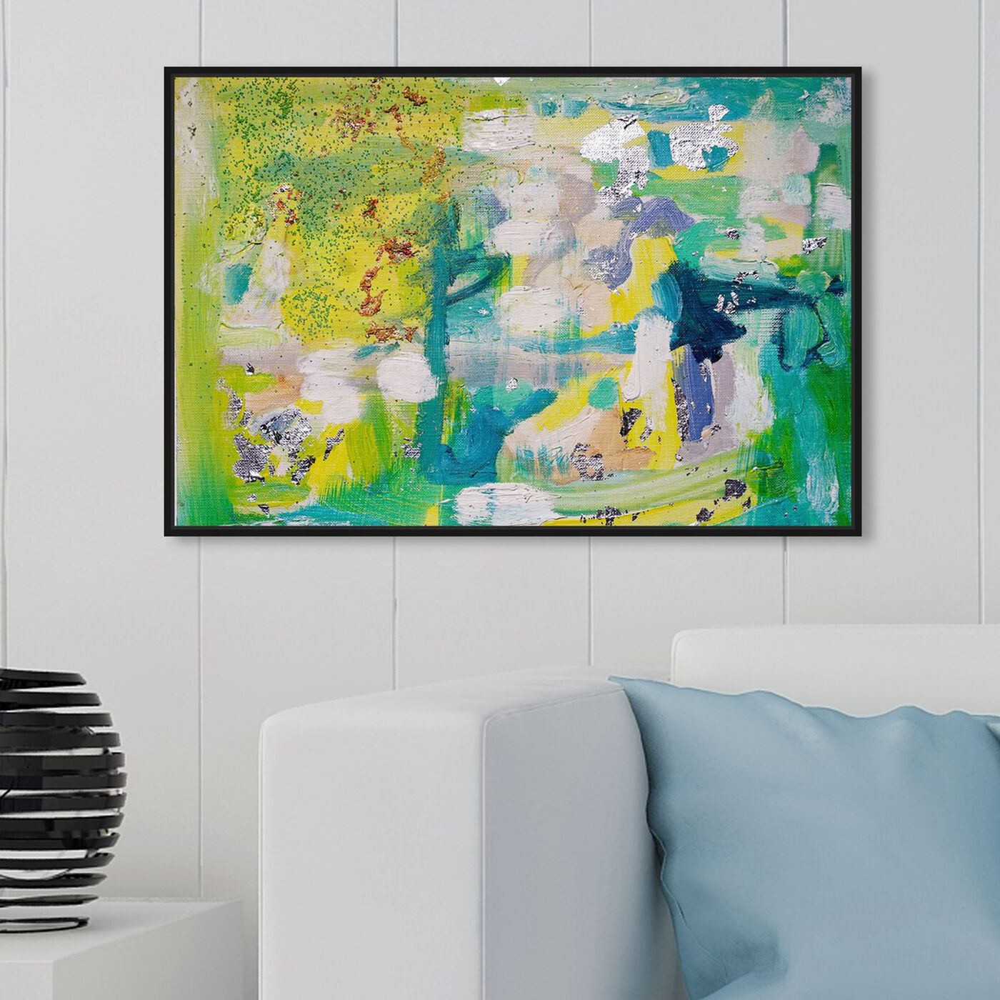 Hanging view of Fresh Awakening by Tiffany Pratt featuring abstract and paint art.