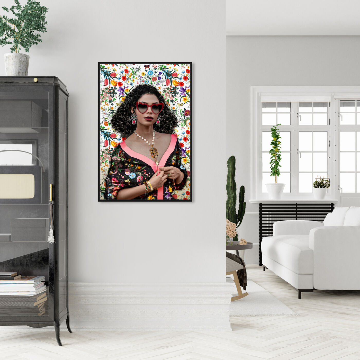 Hanging view of In a Flower Shower featuring fashion and glam and portraits art.