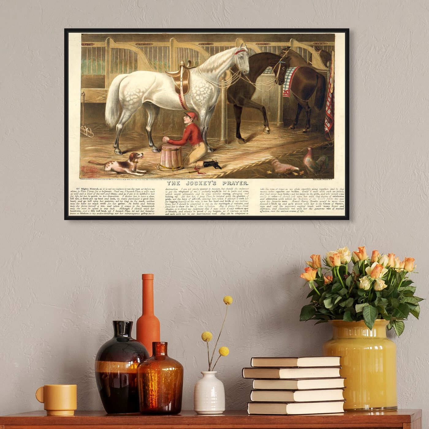 Hanging view of The Jockey's Prayer featuring animals and farm animals art.